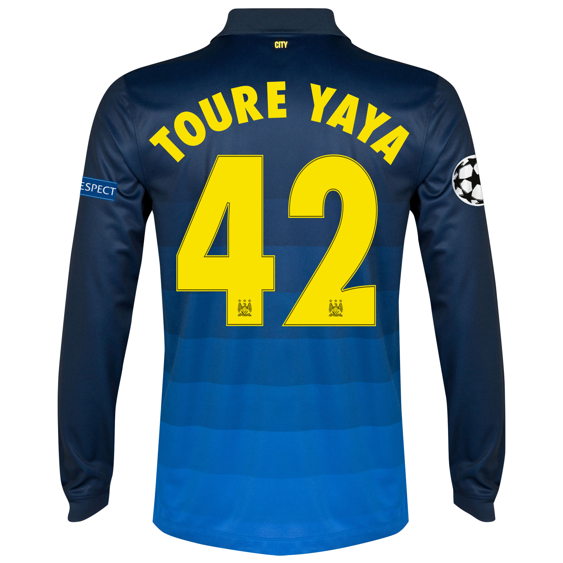 Manchester City UEFA Champions League Away Shirt 2014/15 - Long Sleeve with Toure Yaya 42 printing