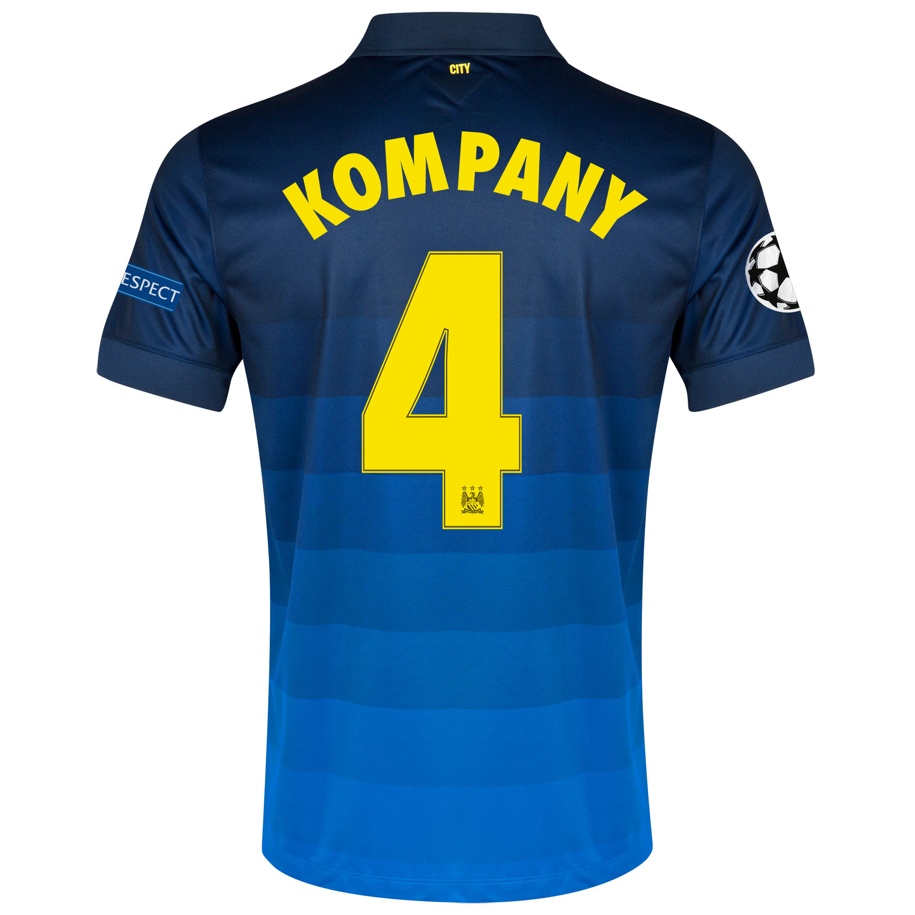 Manchester City UEFA Champions League Away Shirt 2014/15 - Kids with Kompany 4 printing