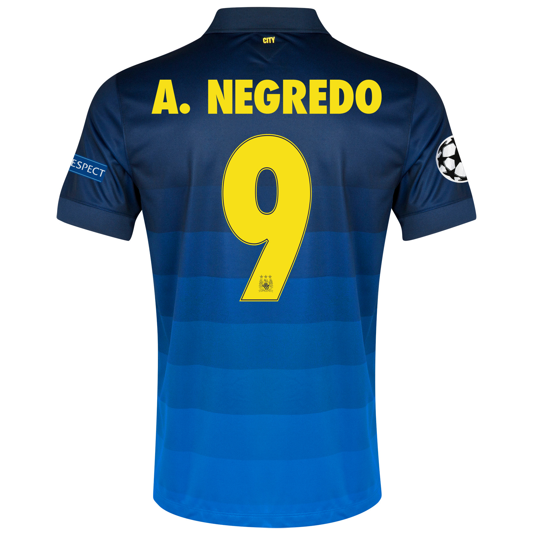 Manchester City UEFA Champions League Away Shirt 2014/15 - Kids with A.Negredo 9 printing