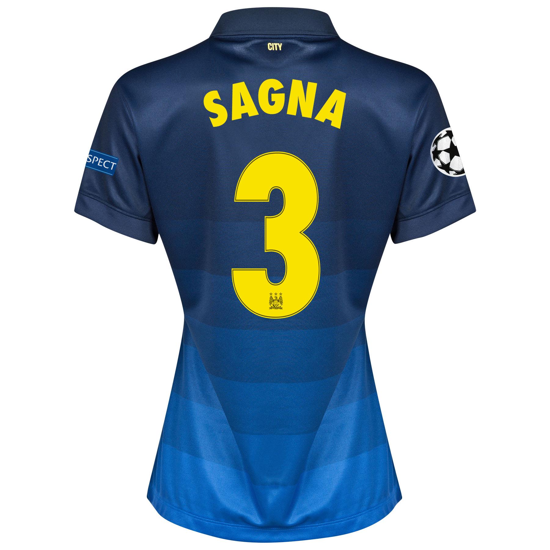 Manchester City UEFA Champions League Away Shirt 2014/15 - Womens with Sagna 3 printing