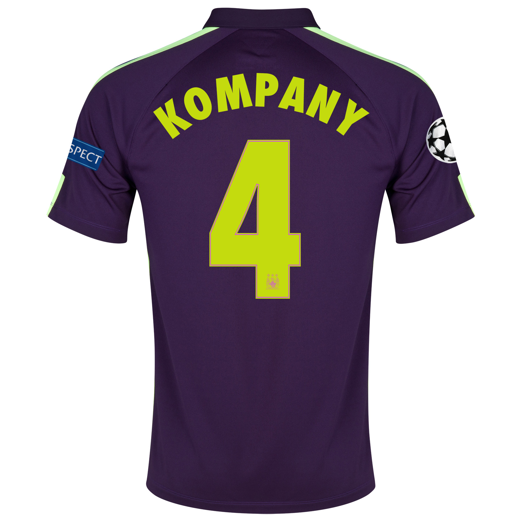 Manchester City UEFA Champions League Cup Away Shirt 2014/15 Purple with Kompany 4 printing