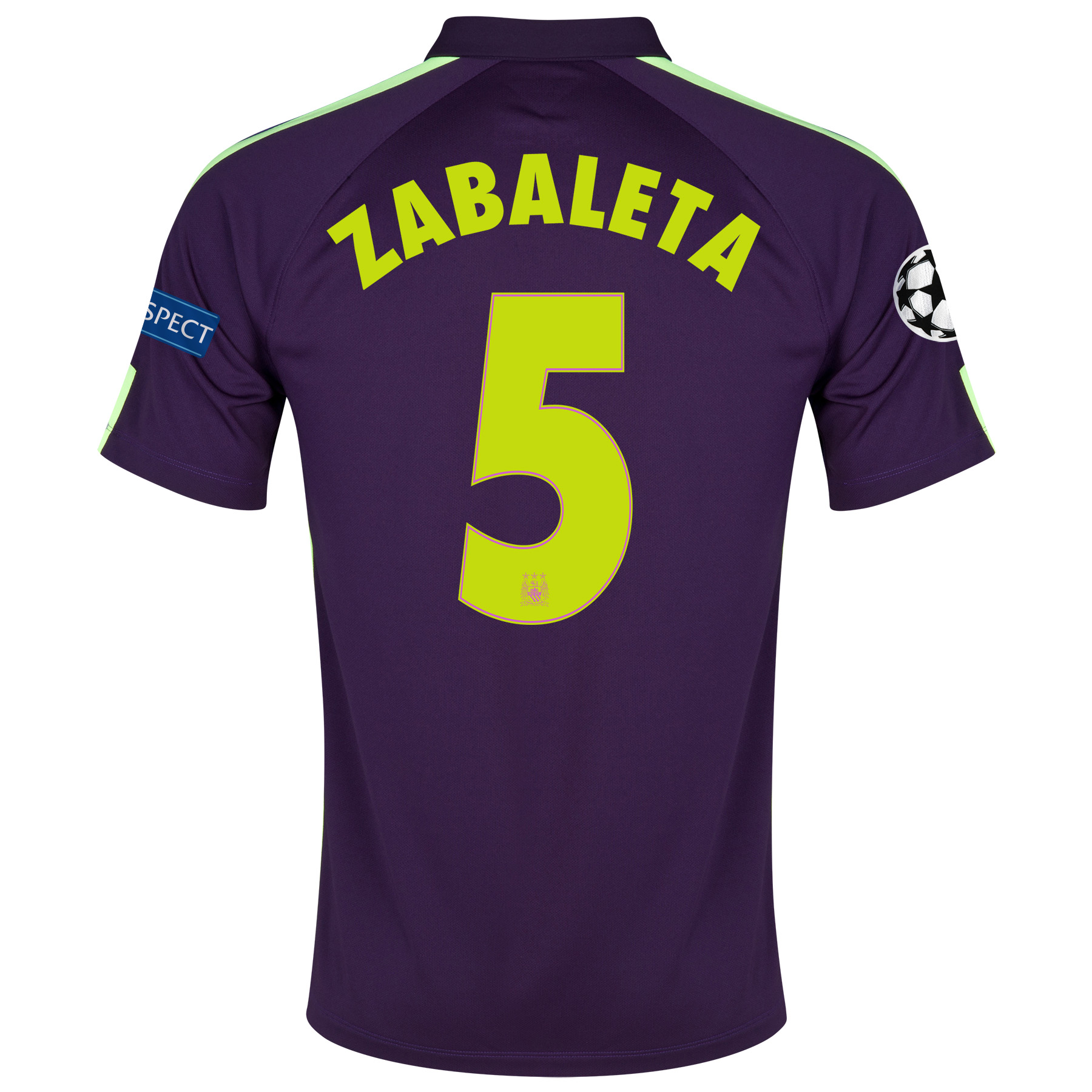 Manchester City UEFA Champions League Cup Away Shirt 2014/15 Purple with Zabaleta 5 printing