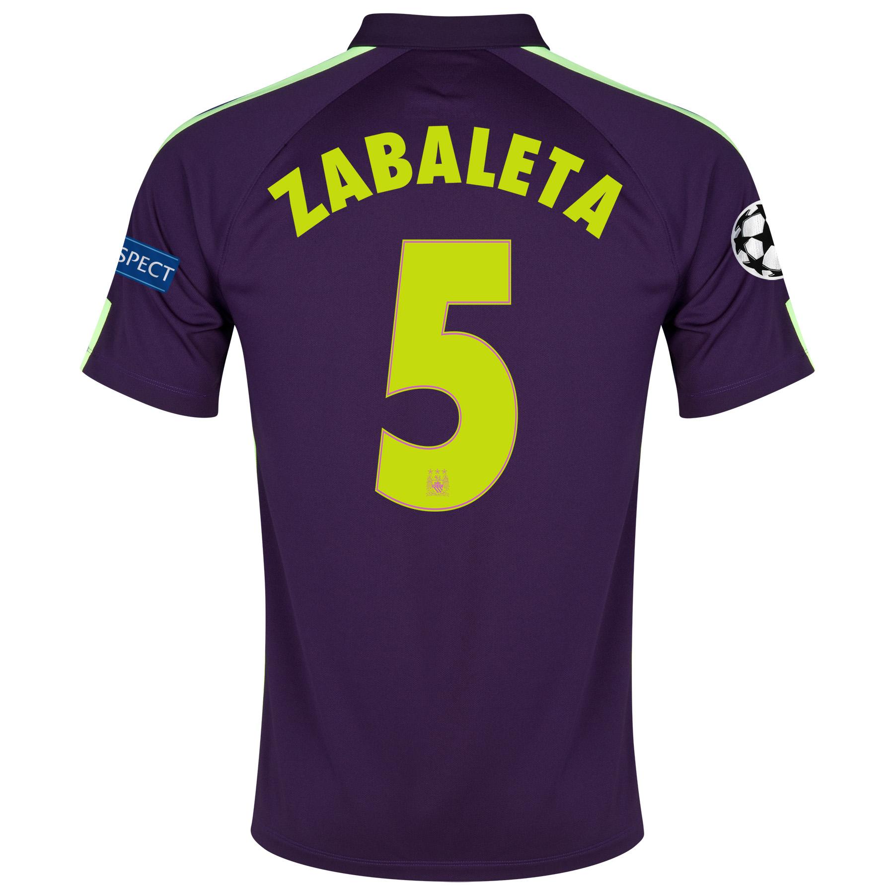 Manchester City UEFA Champions League Cup Away Shirt 2014/15 Purple with Zabaleta 5 printing