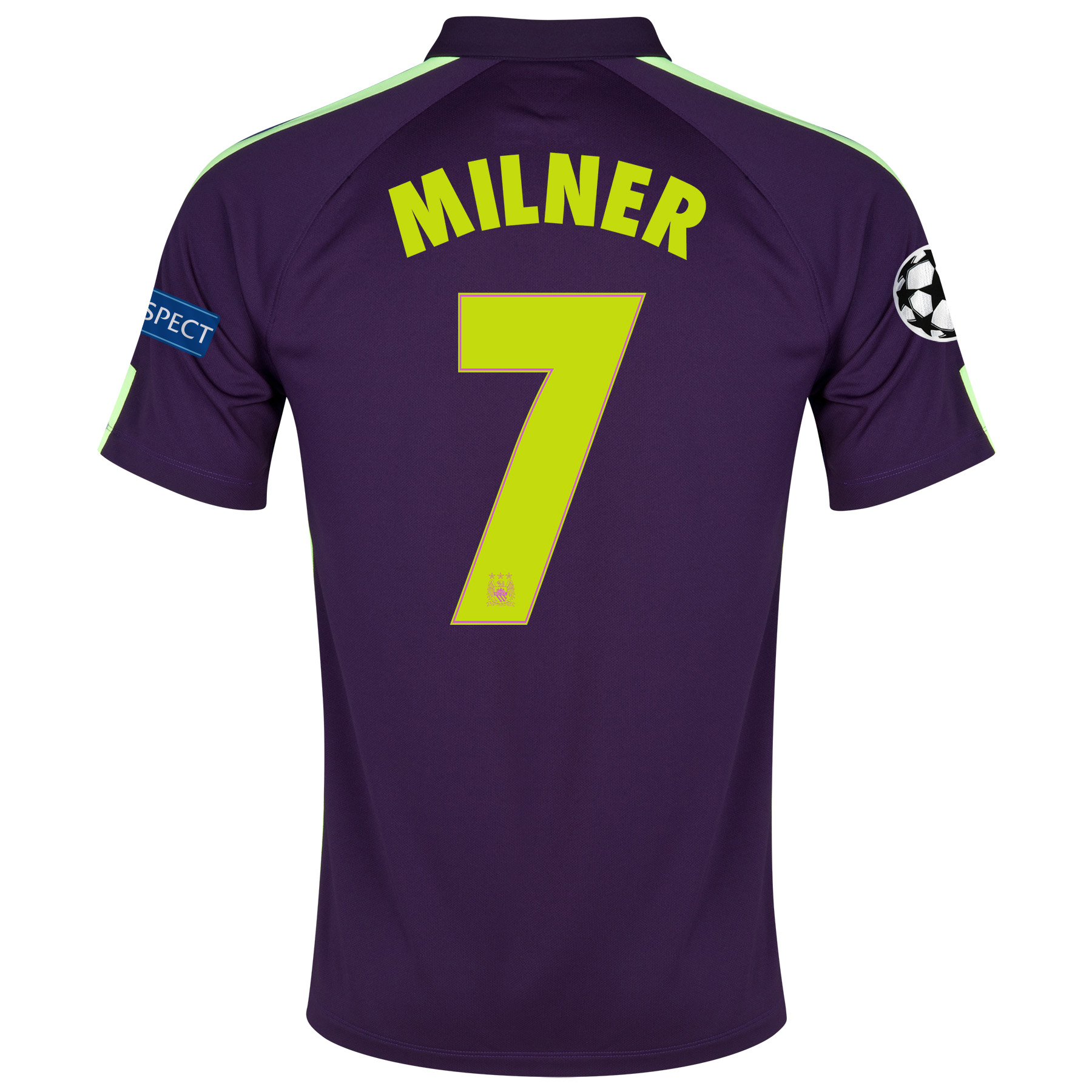 Manchester City UEFA Champions League Cup Away Shirt 2014/15 Purple with Milner 7 printing