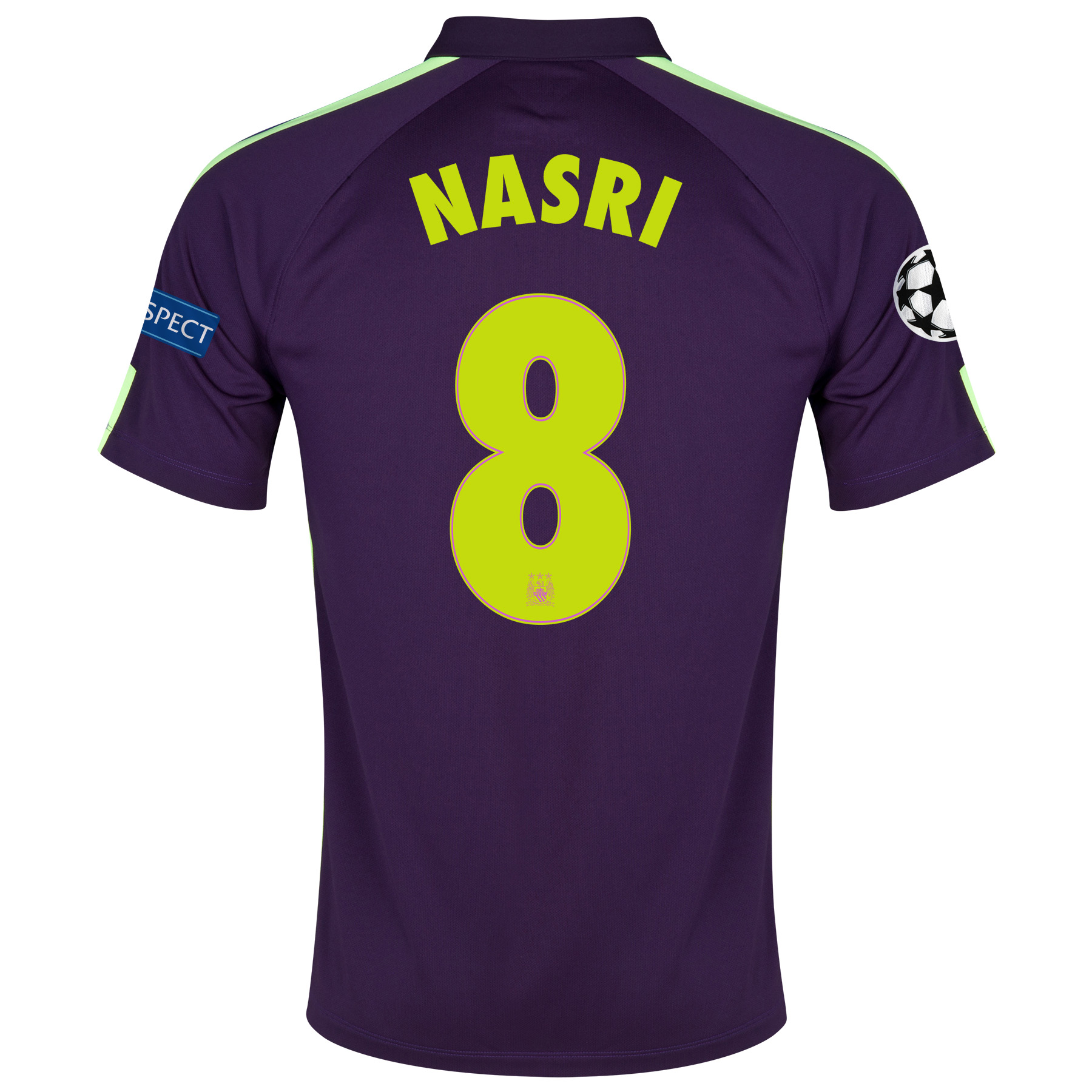 Manchester City UEFA Champions League Cup Away Shirt 2014/15 Purple with Nasri 8 printing