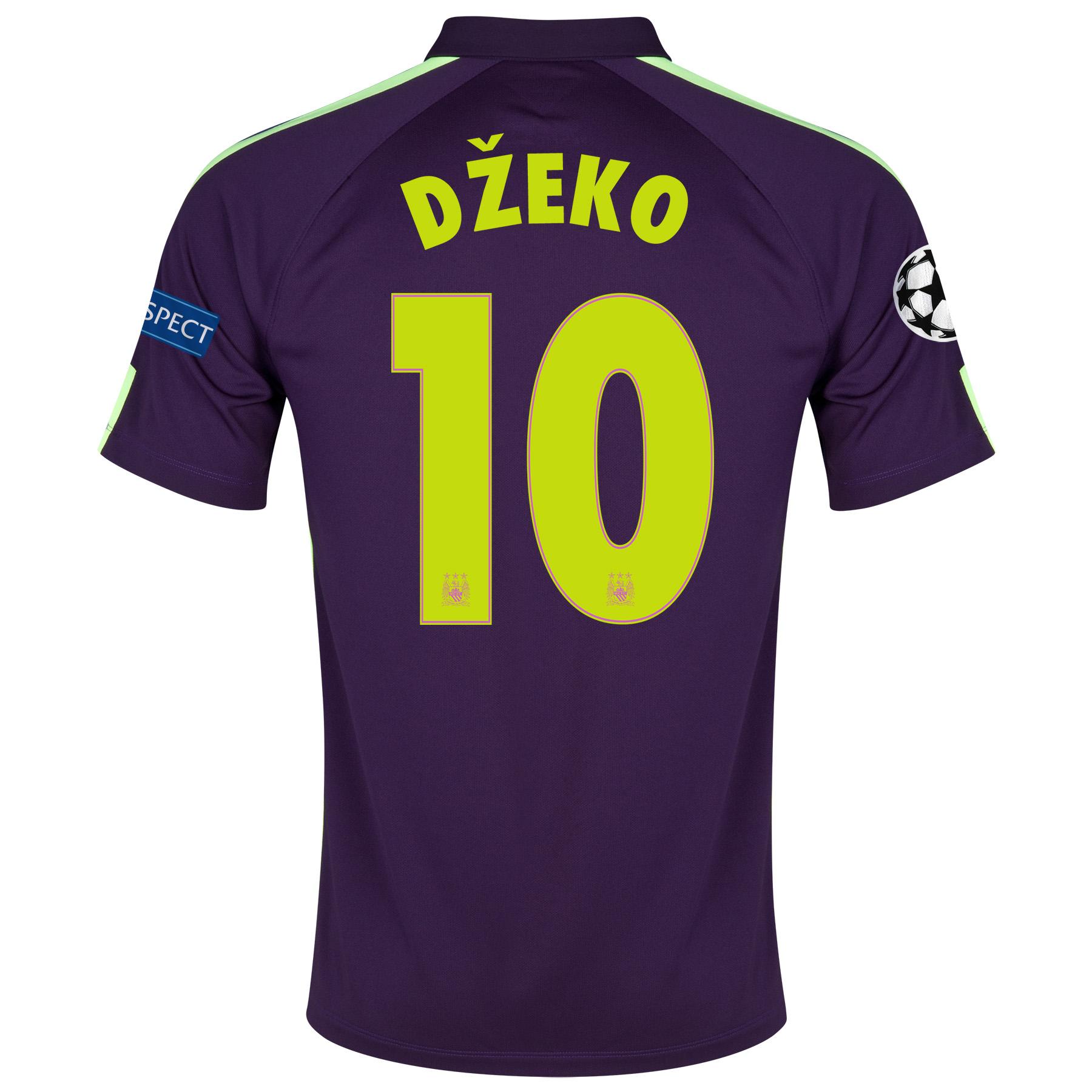 Manchester City UEFA Champions League Cup Away Shirt 2014/15 Purple with Dzeko 10 printing