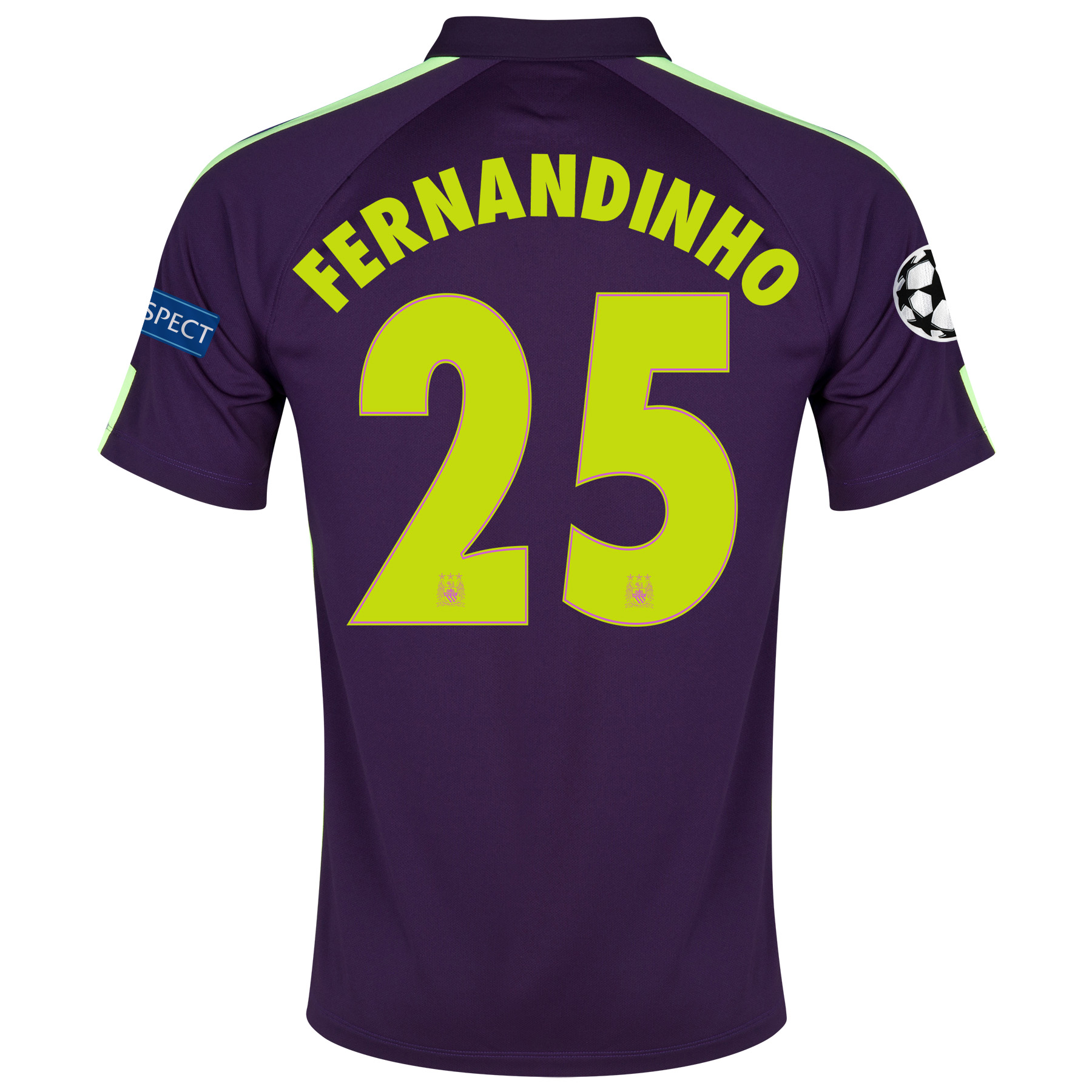 Manchester City UEFA Champions League Cup Away Shirt 2014/15 Purple with Fernandinho 25 printing