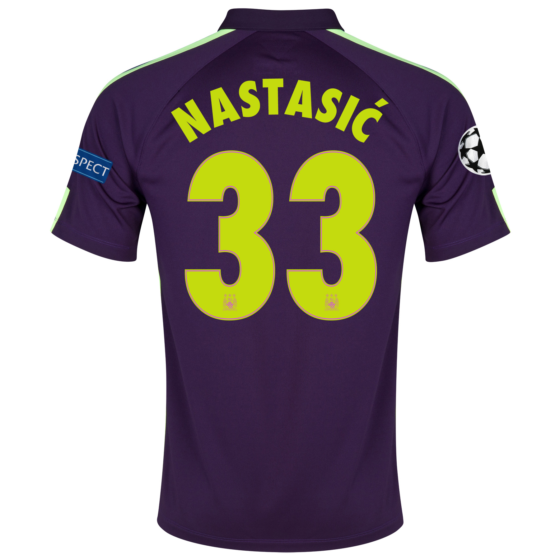 Manchester City UEFA Champions League Cup Away Shirt 2014/15 Purple with Nastasic 33 printing