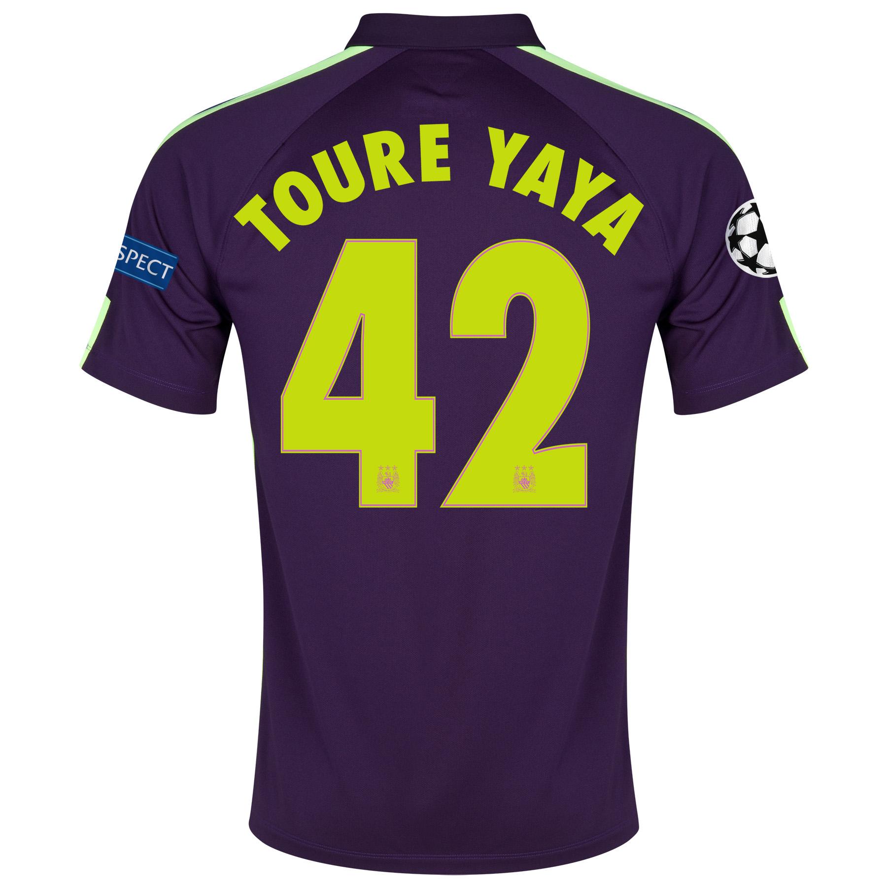 Manchester City UEFA Champions League Cup Away Shirt 2014/15 Purple with Toure Yaya 42 printing
