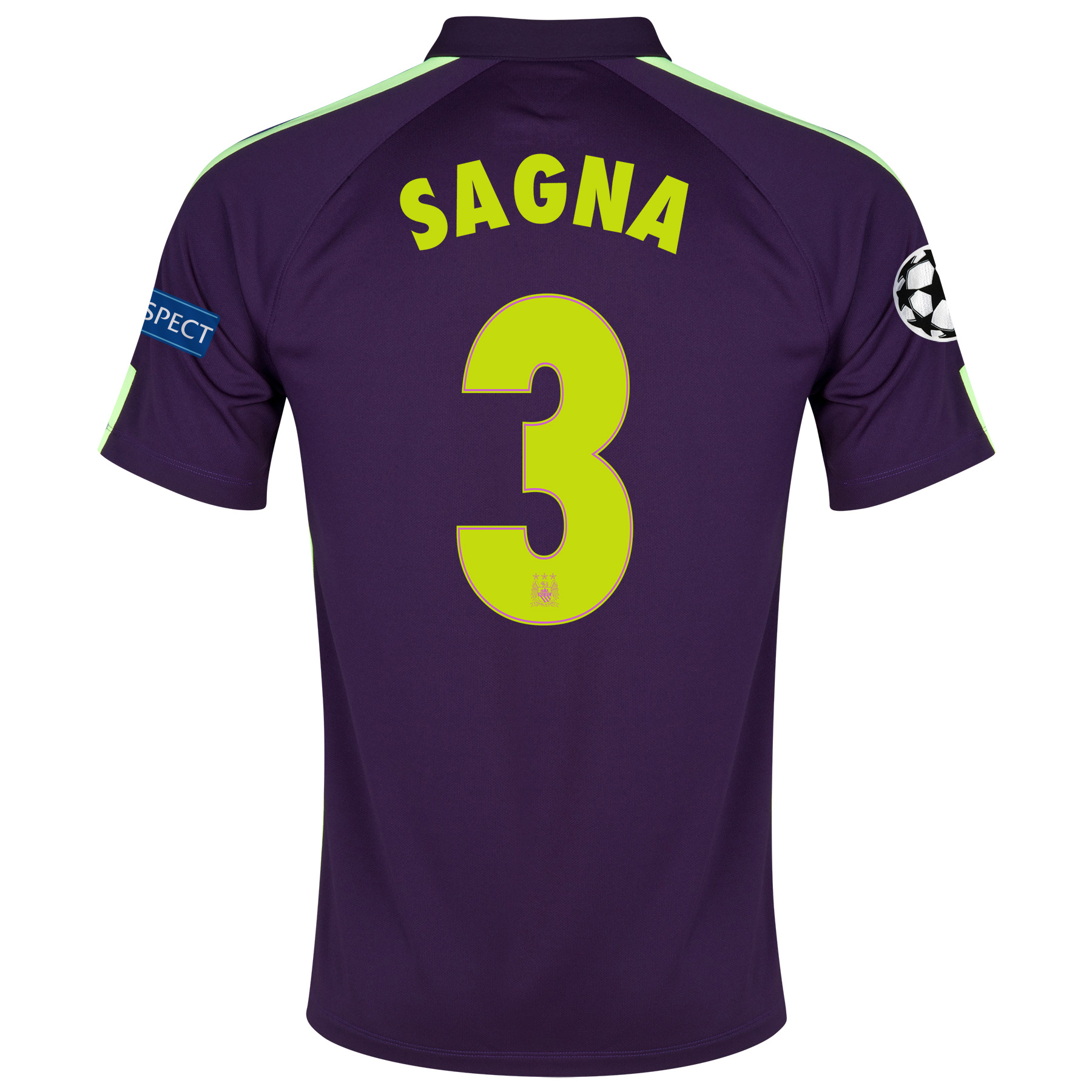 Manchester City UEFA Champions League Cup Away Shirt 2014/15 - Kids Purple with Sagna 3 printing