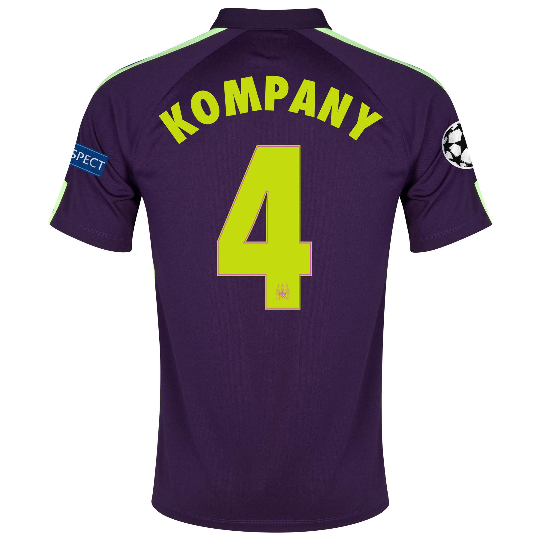Manchester City UEFA Champions League Cup Away Shirt 2014/15 - Kids Purple with Kompany 4 printing