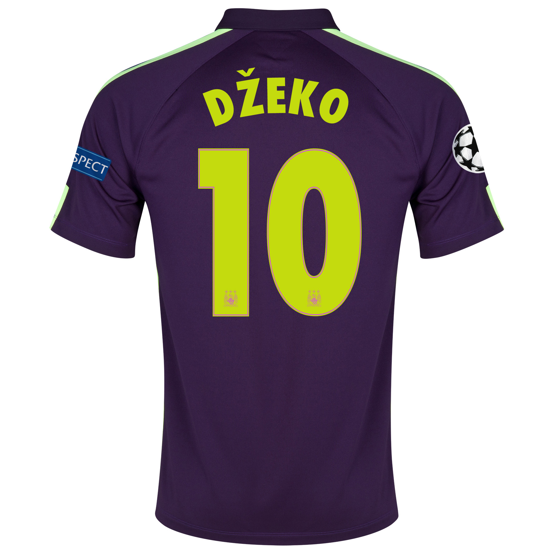 Manchester City UEFA Champions League Cup Away Shirt 2014/15 - Kids Purple with Dzeko 10 printing