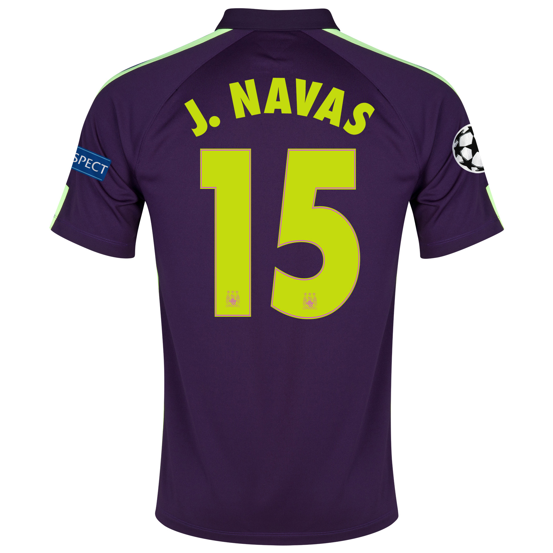 Manchester City UEFA Champions League Cup Away Shirt 2014/15 - Kids Purple with J.Navas 15 printing