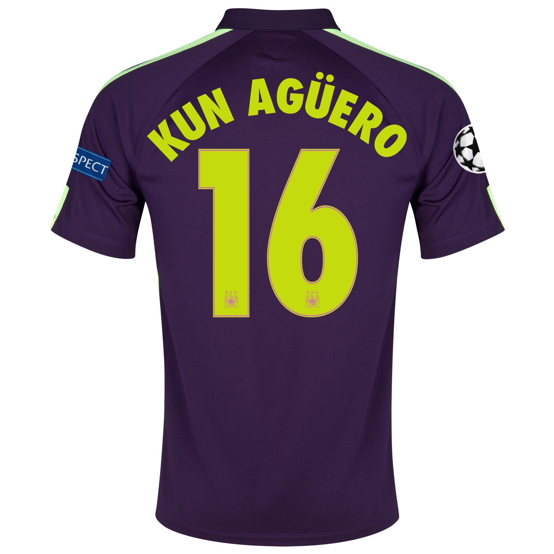 Manchester City UEFA Champions League Cup Away Shirt 2014/15 - Kids Purple with Kun Agüero  16 printing