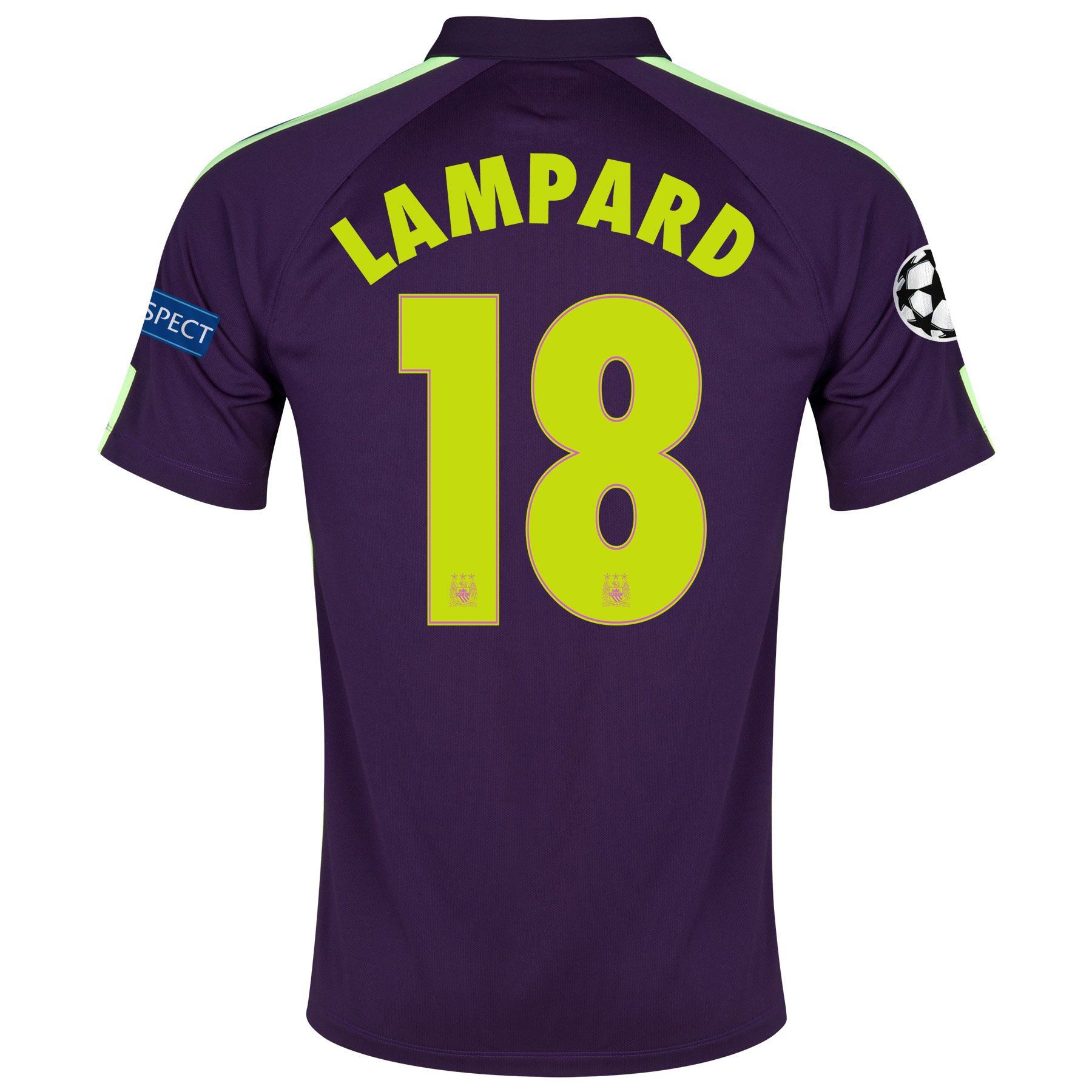 Manchester City UEFA Champions League Cup Away Shirt 2014/15 - Kids Purple with Lampard 18 printing