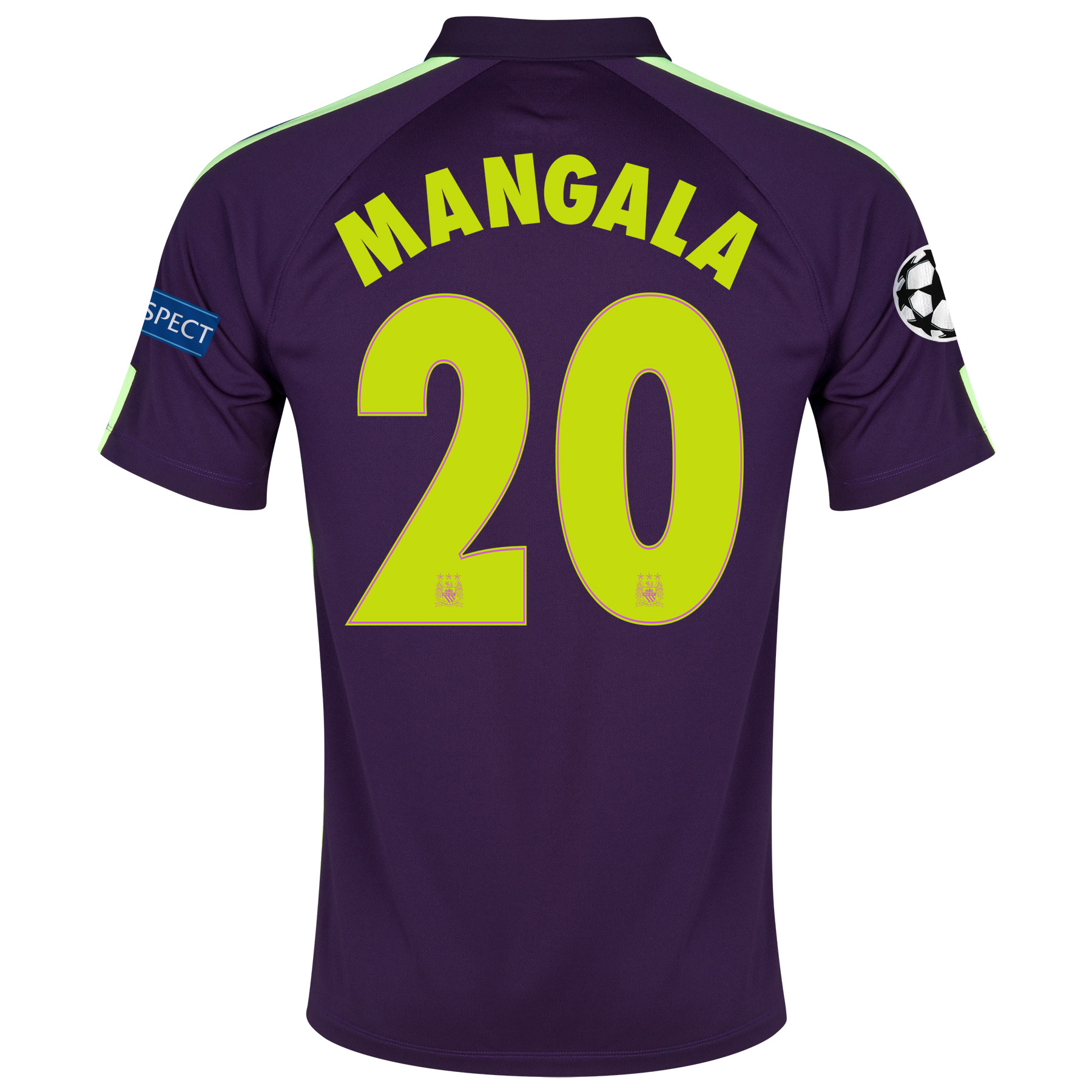 Manchester City UEFA Champions League Cup Away Shirt 2014/15 - Kids Purple with Mangala 20 printing