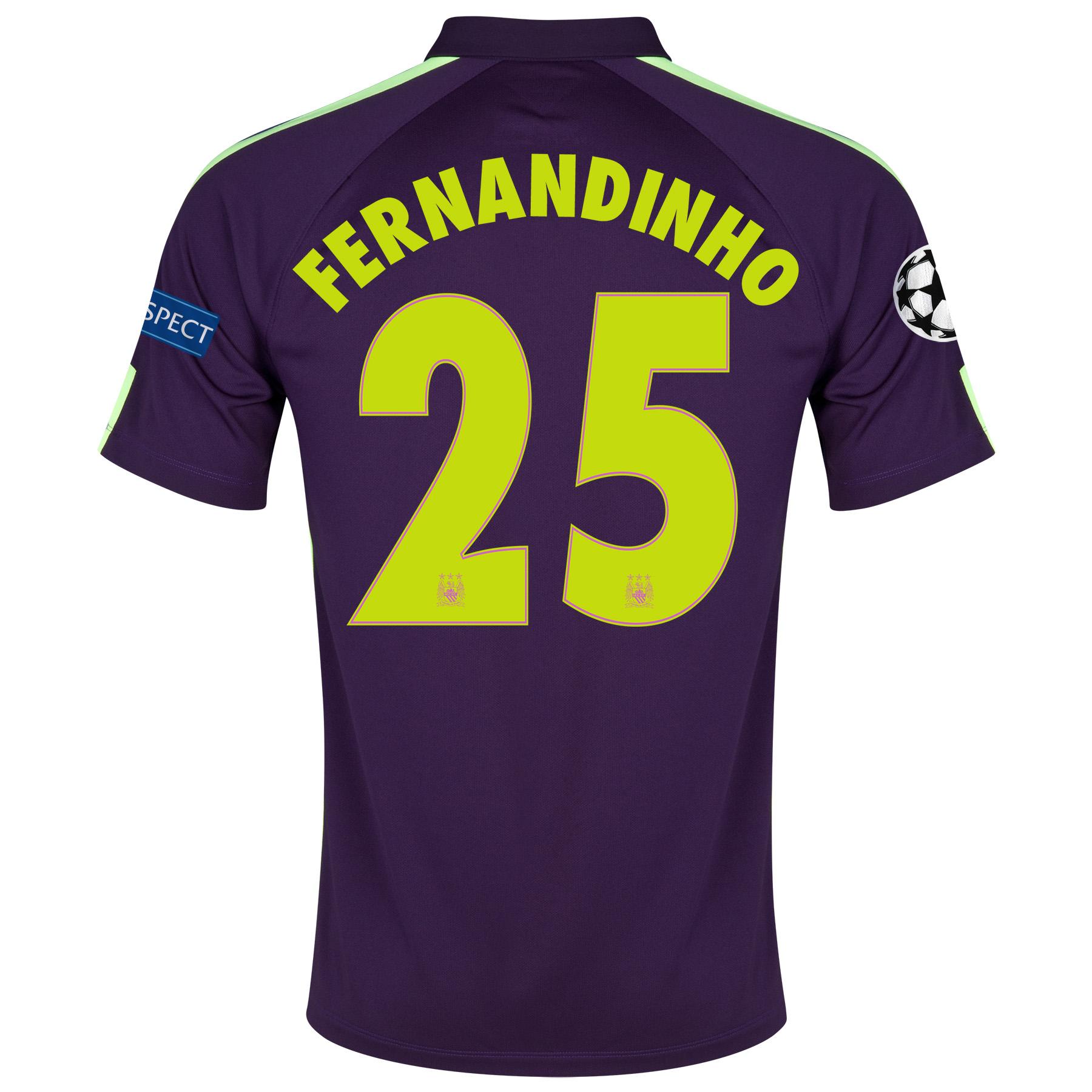 Manchester City UEFA Champions League Cup Away Shirt 2014/15 - Kids Purple with Fernandinho 25 printing