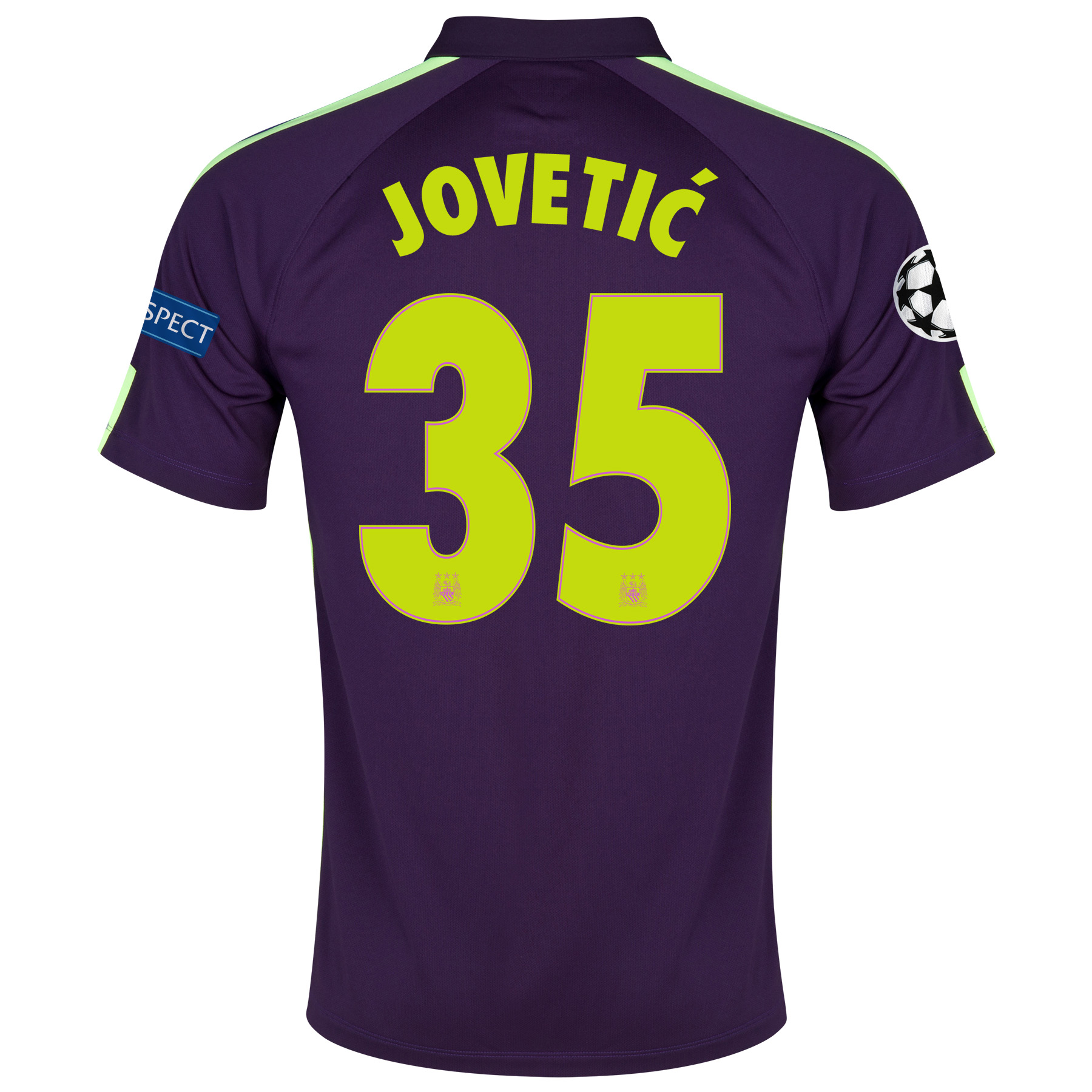 Manchester City UEFA Champions League Cup Away Kit 2014/15 - Little Boys Purple with Jovetic 35 printing