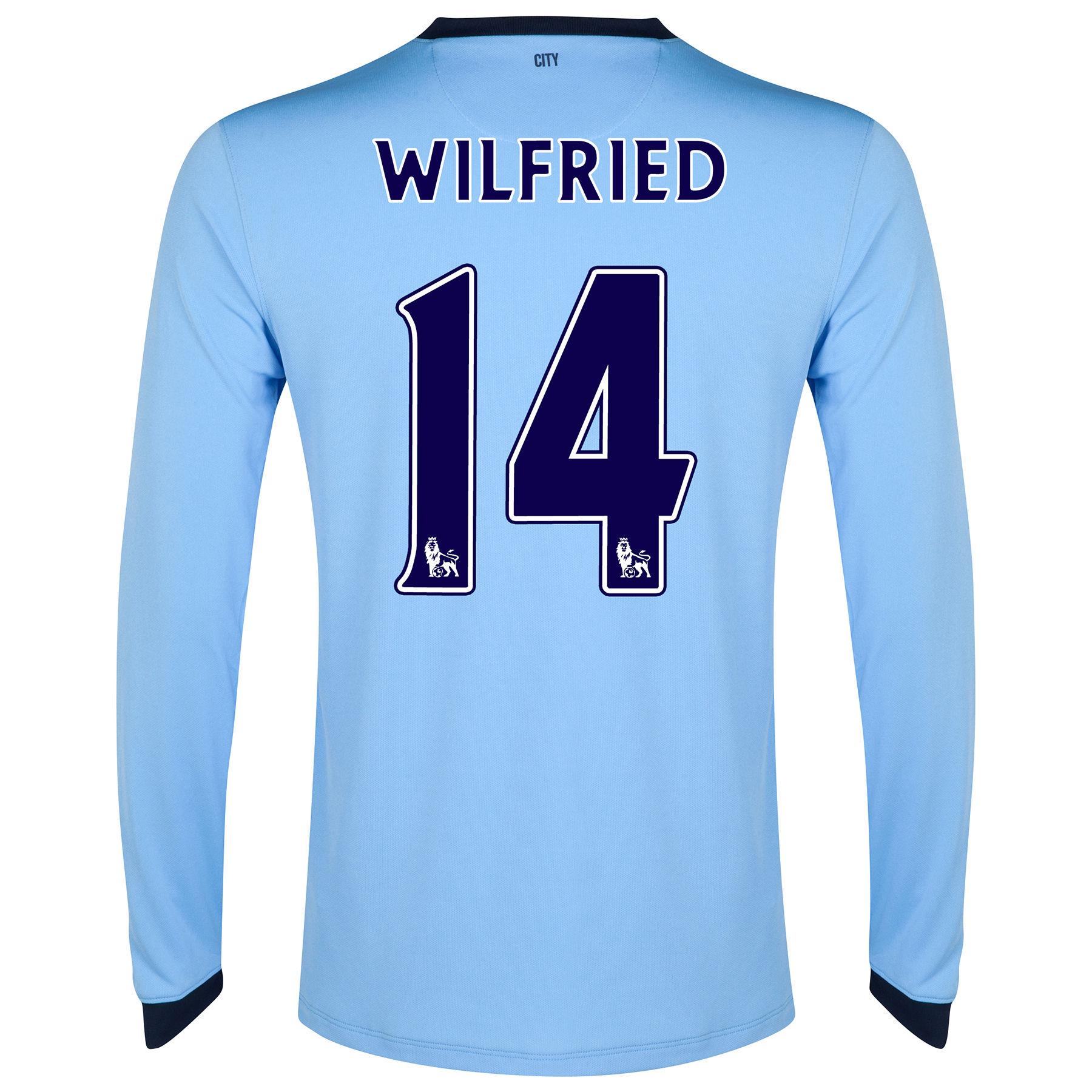 Manchester City Home Shirt 2014/15 - Long Sleeve Sky Blue with Wilfried 14 printing