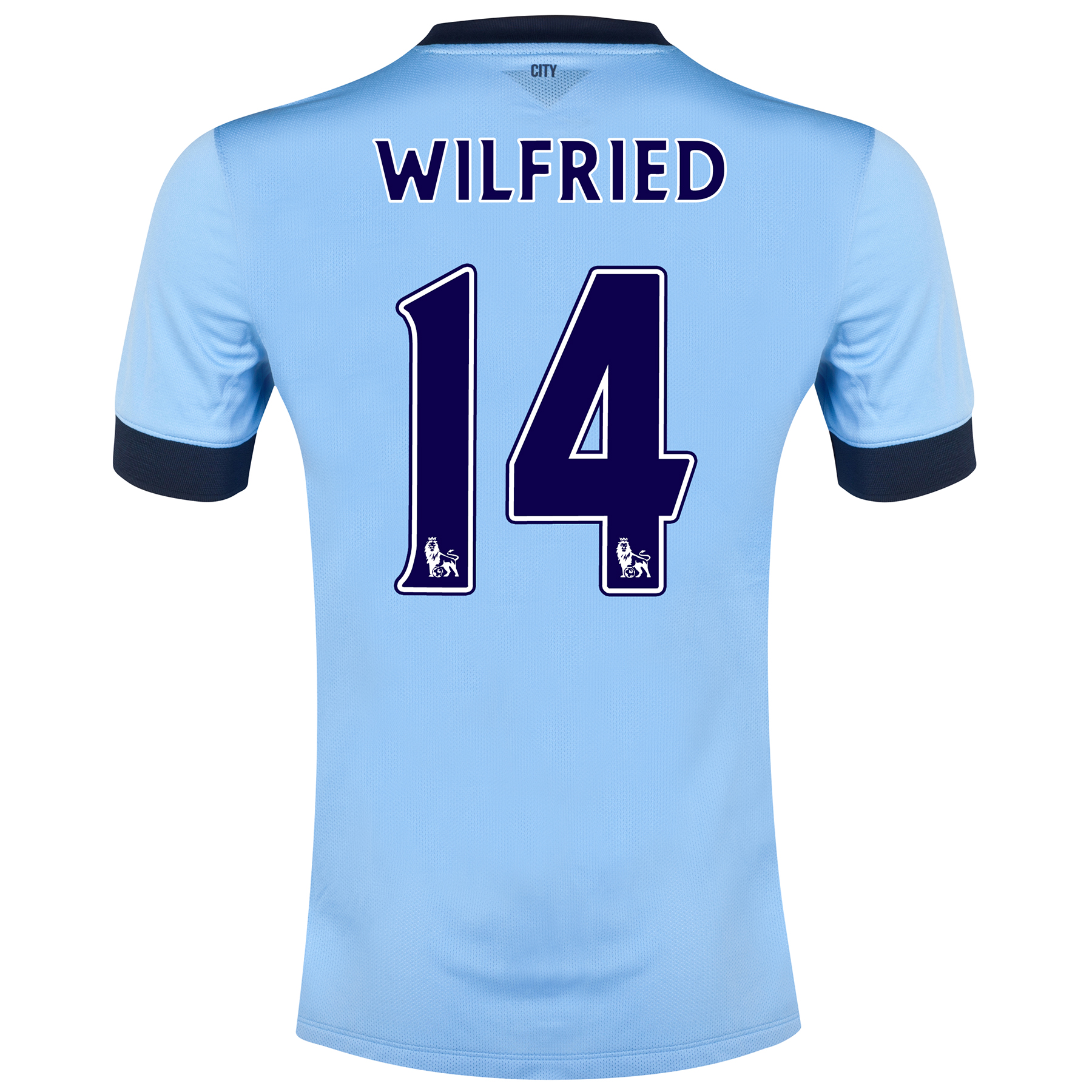 Manchester City Home Shirt 2014/15 - Kids Sky Blue with Wilfried 14 printing