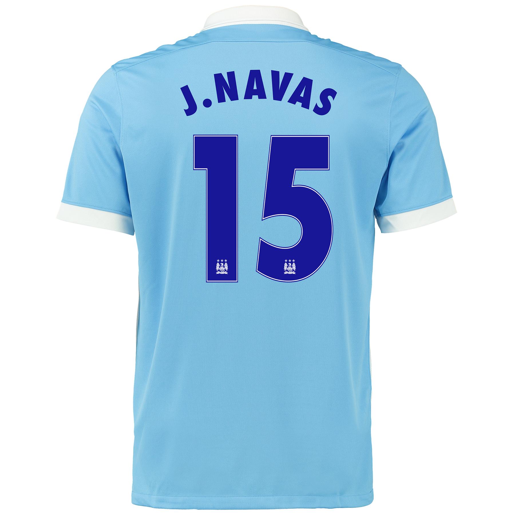 Manchester City Euro Home Shirt 2015/16 - Kids Sky Blue with J.Navas 1