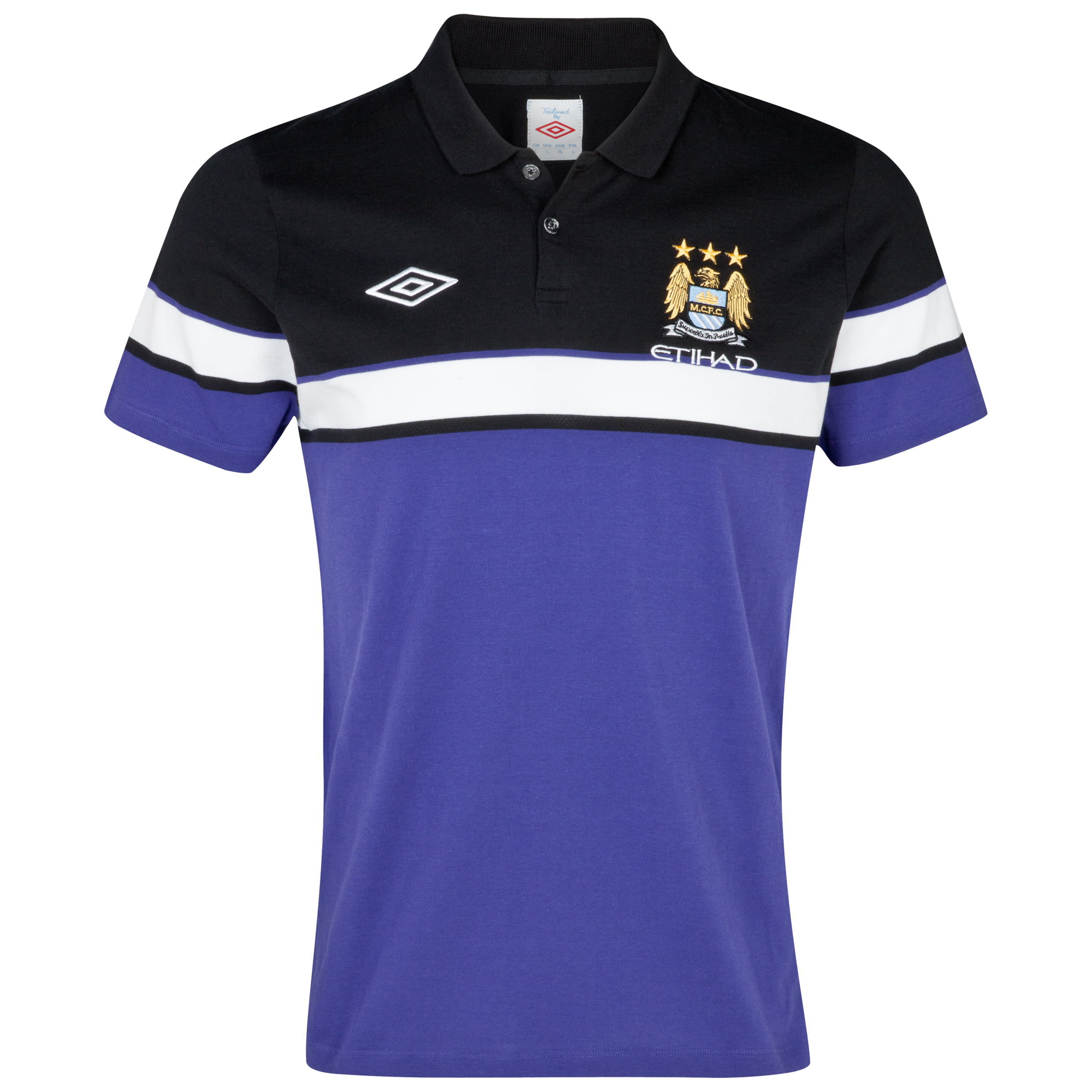 Manchester City Cotton Polo - Deep Wisteria / Black / White