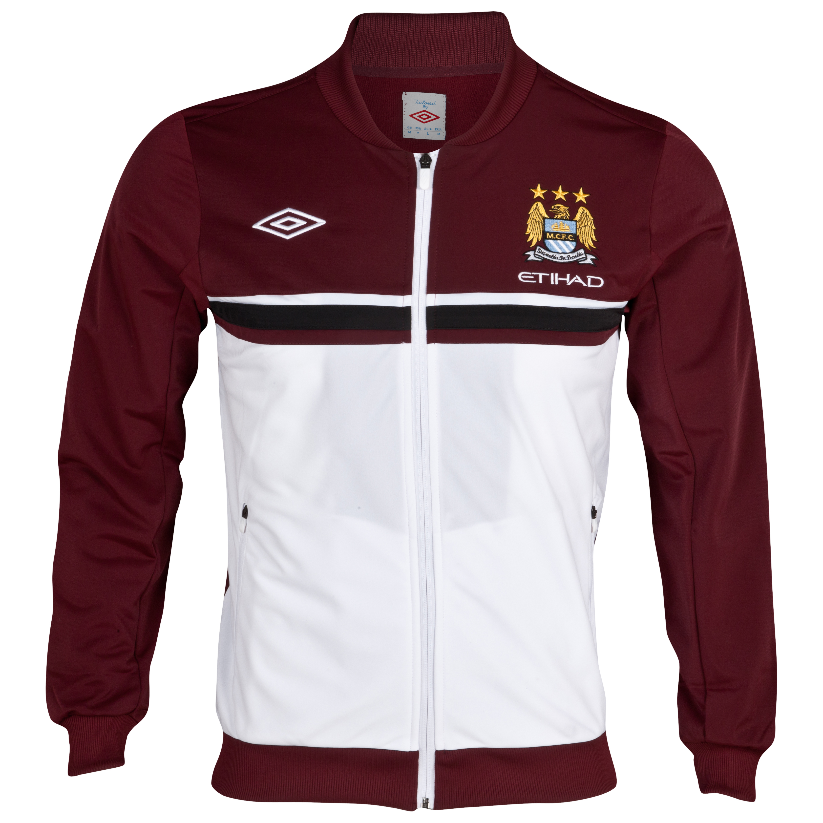 Manchester City Knitted Jacket - White/Maroon/Black