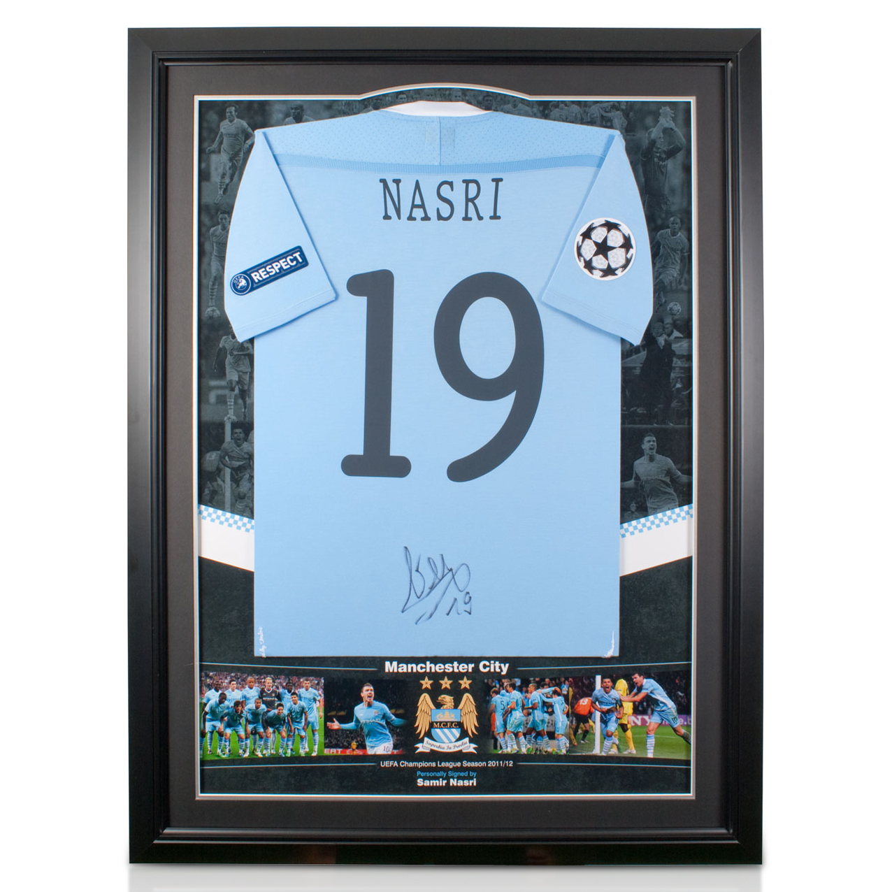 Manchester City Champions League Player Signed Framed Shirt - Nasri