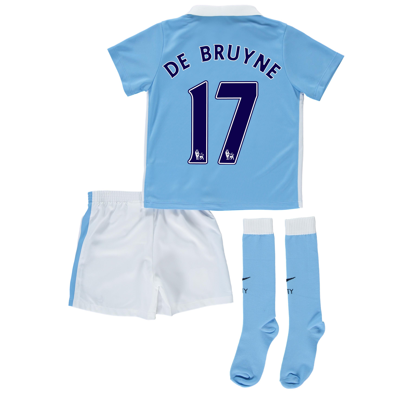 Manchester City Home Kit 2015/16 - Little Kids Sky Blue with De Bruyne