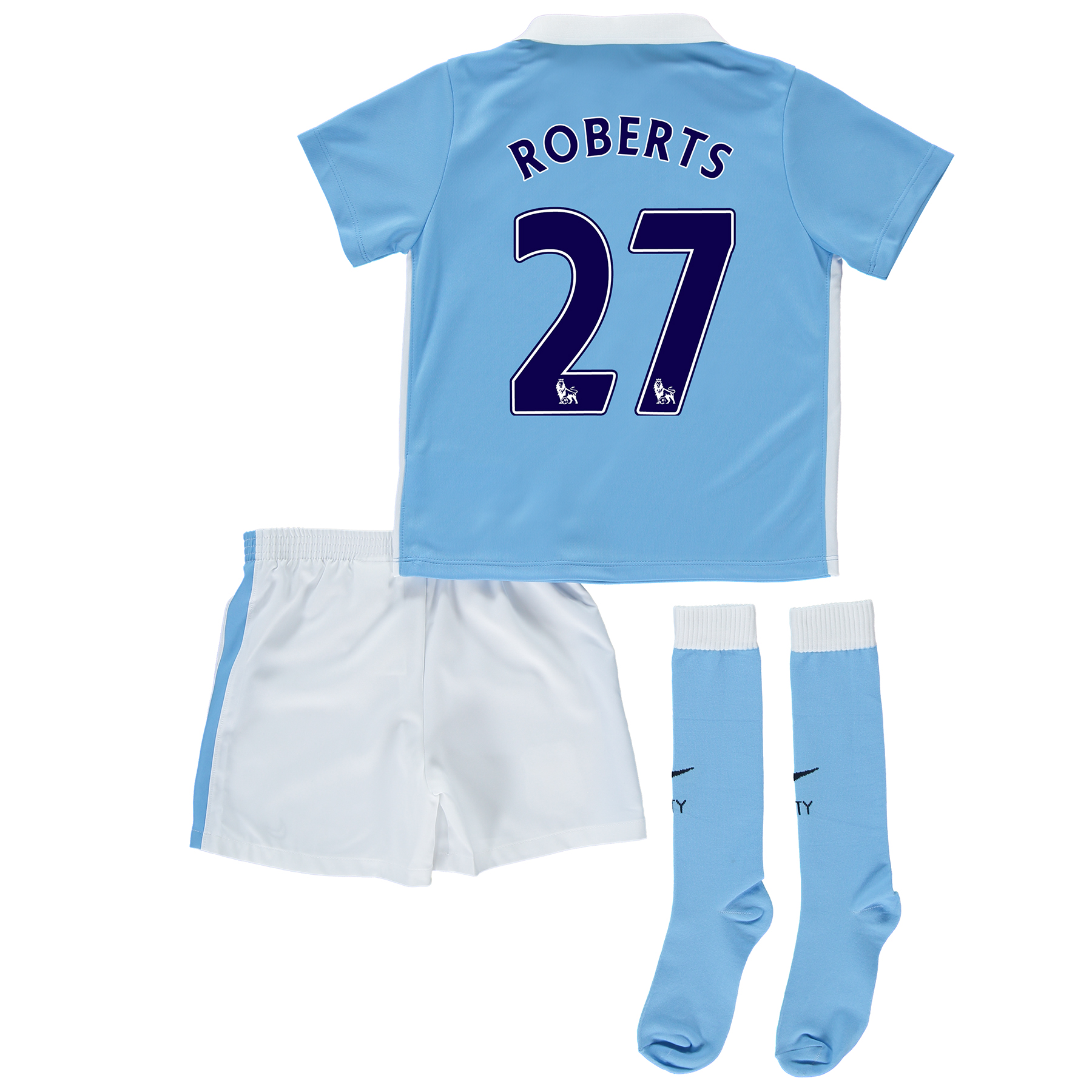 Manchester City Home Kit 2015/16 - Little Kids Sky Blue with Roberts 2