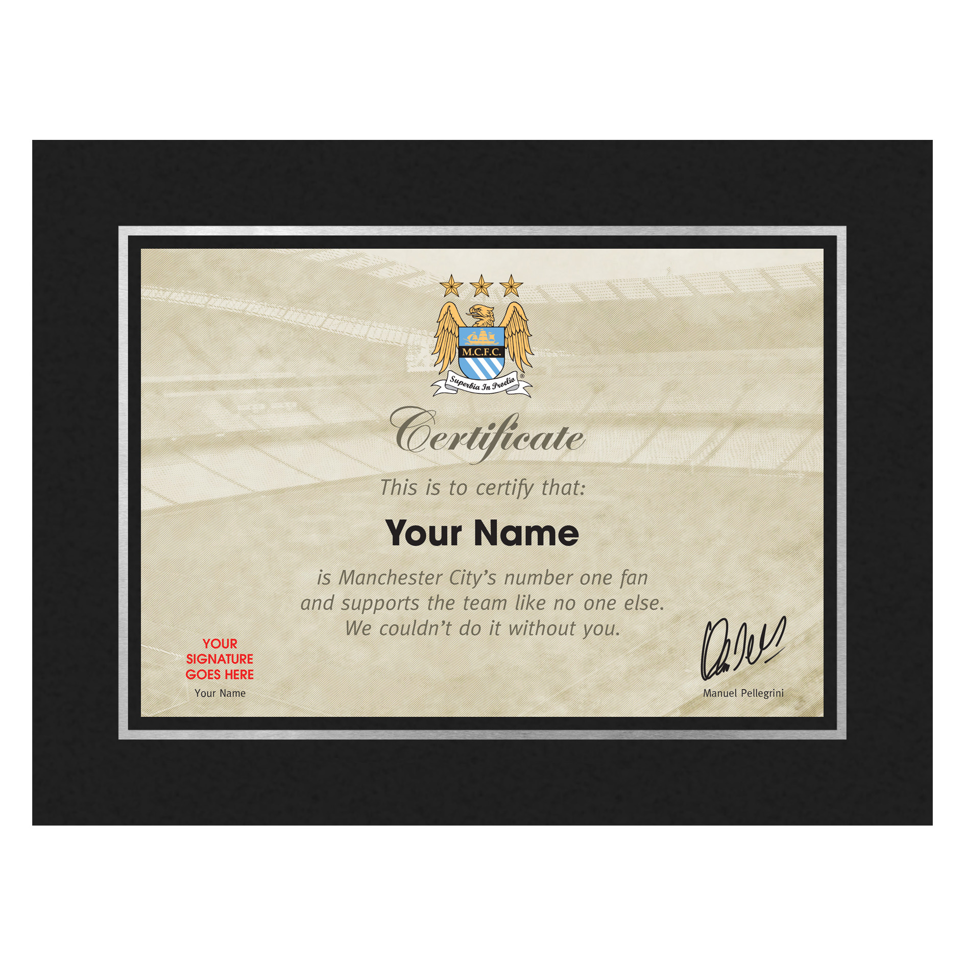 Manchester City Personalised Number One Fan Certificate