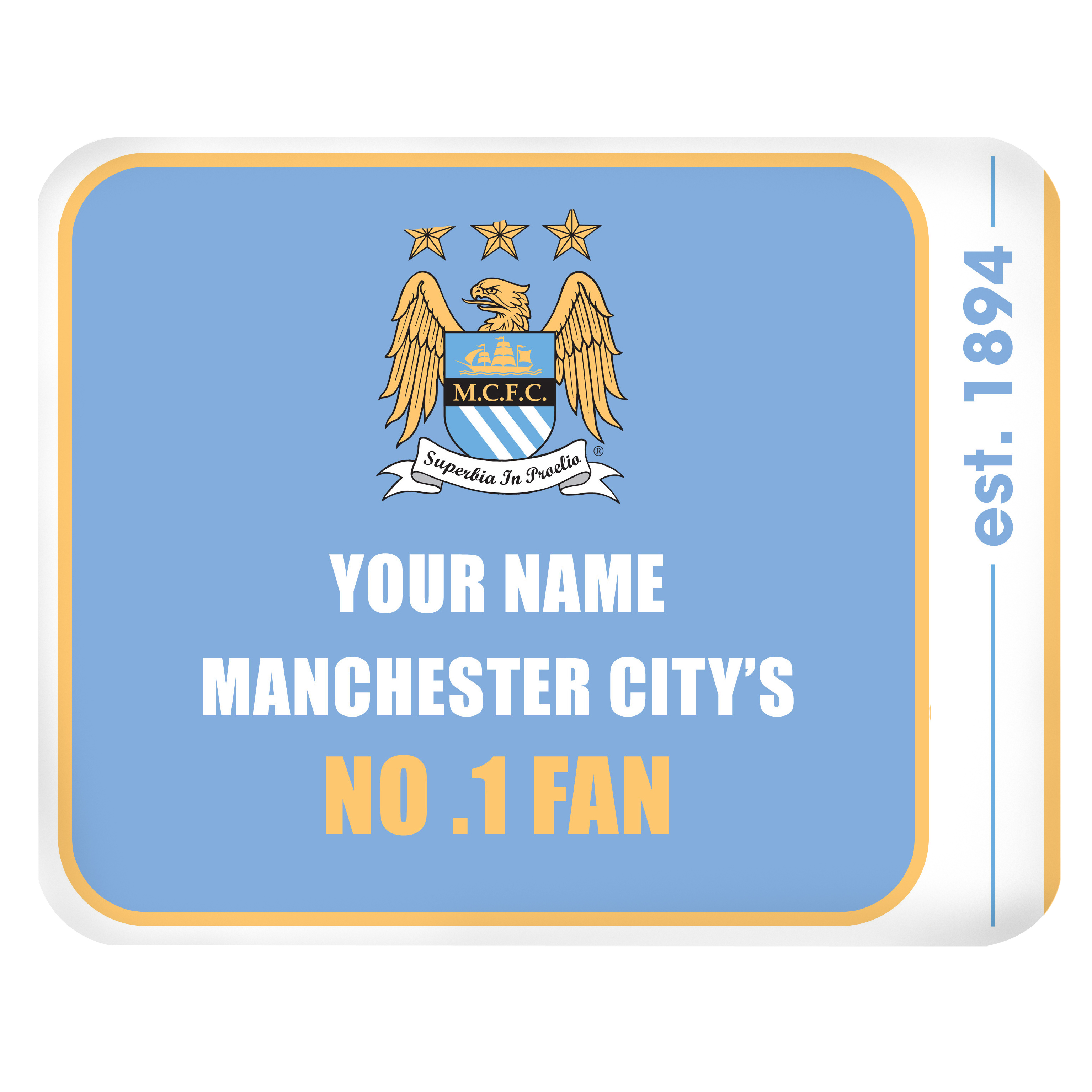 Manchester City Personalised No.1 Fan Mouse Mat