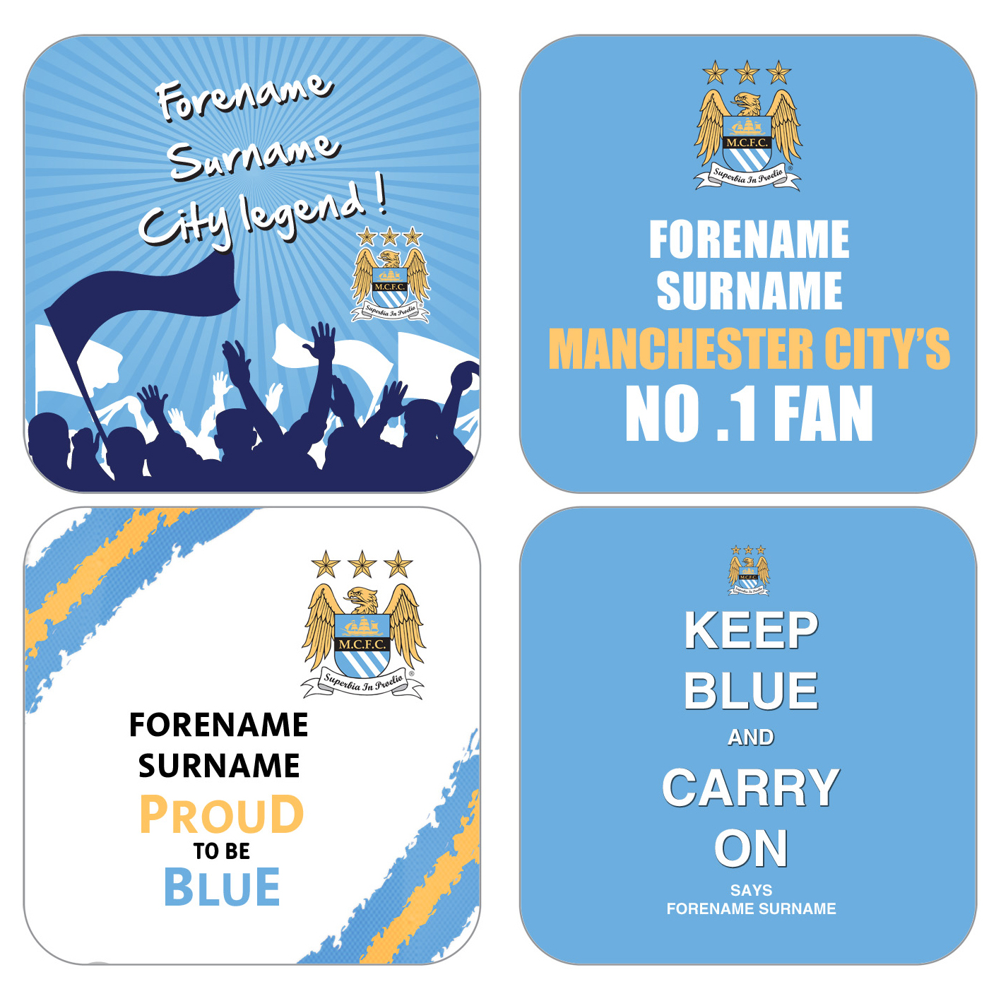 Manchester City Personalised Coasters 4 Pack