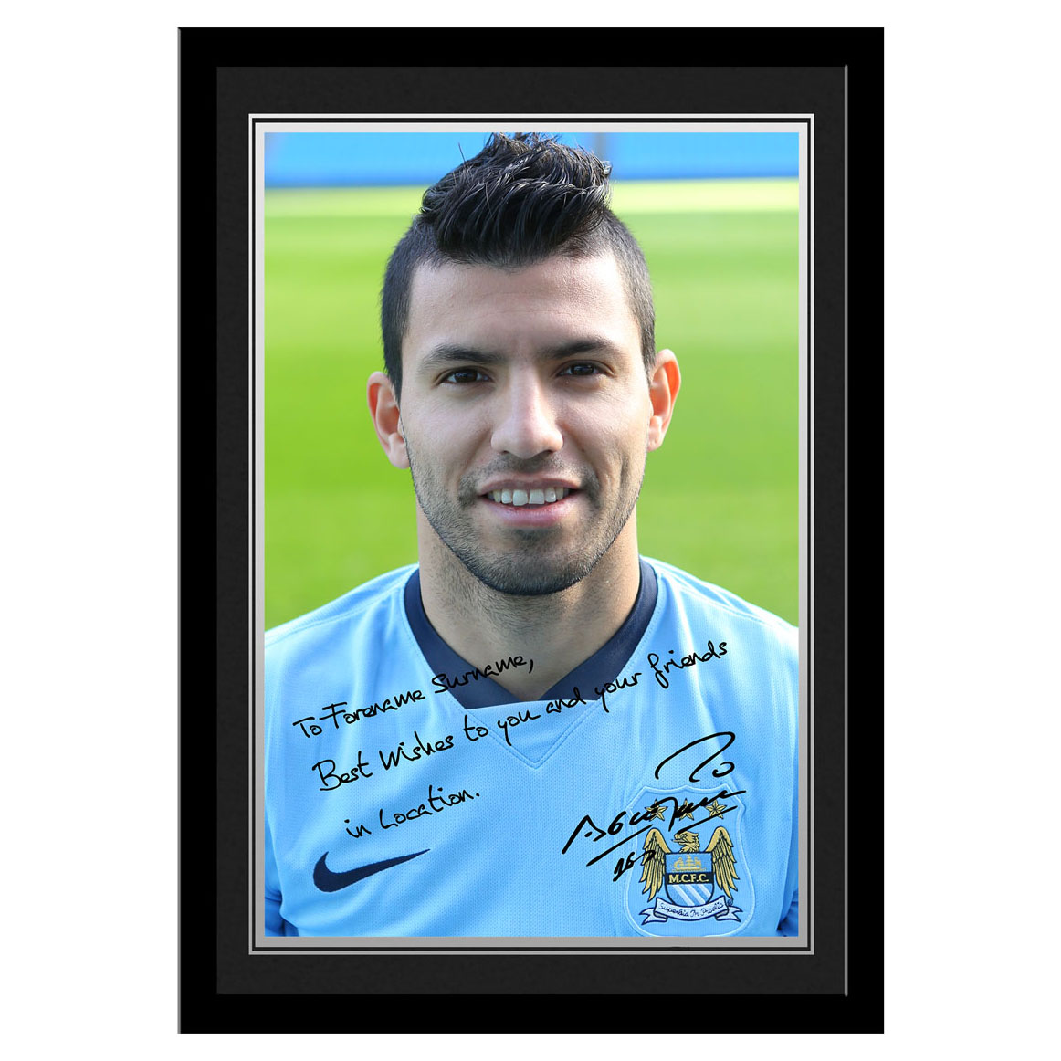 Manchester City Personalised Signature Photo Frame - Sergio Aguero