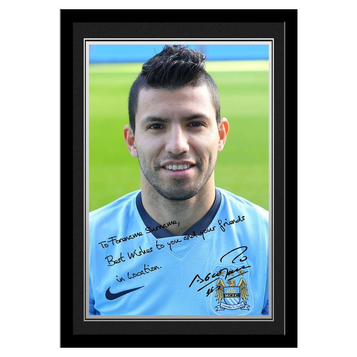 Manchester City Personalised Signature Photo Frame - Sergio Aguero