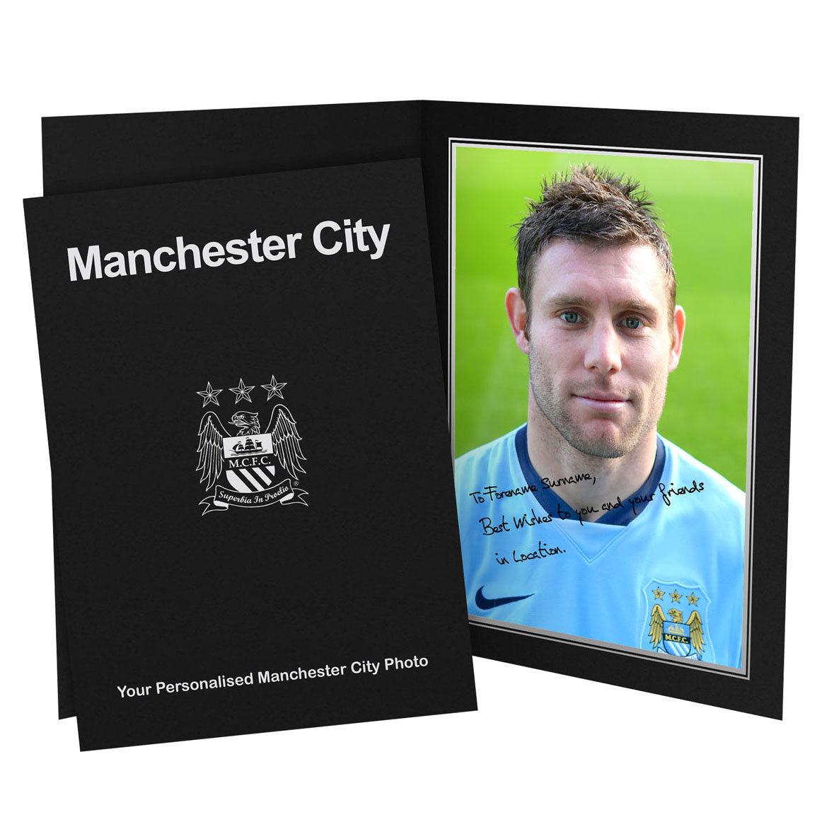 Manchester City Personalised Signature Photo in Presentation Folder - James Milner