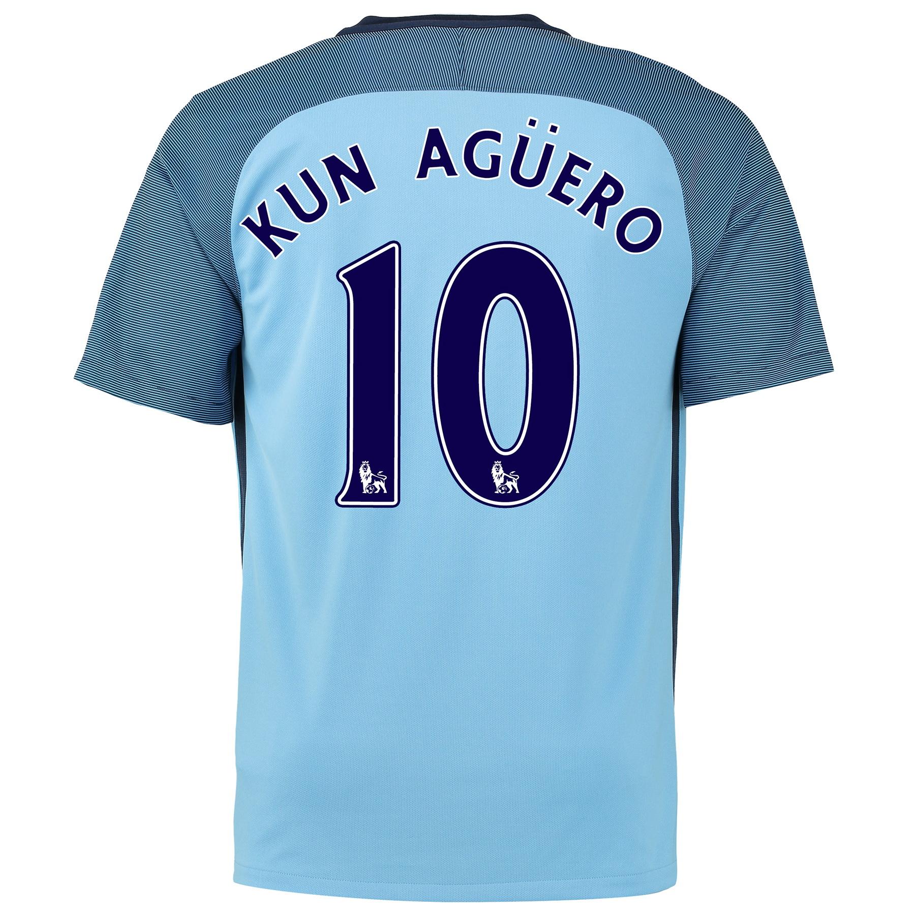 Manchester City Home Shirt 2016-17 - Kids with Kun Aguero  10 printing
