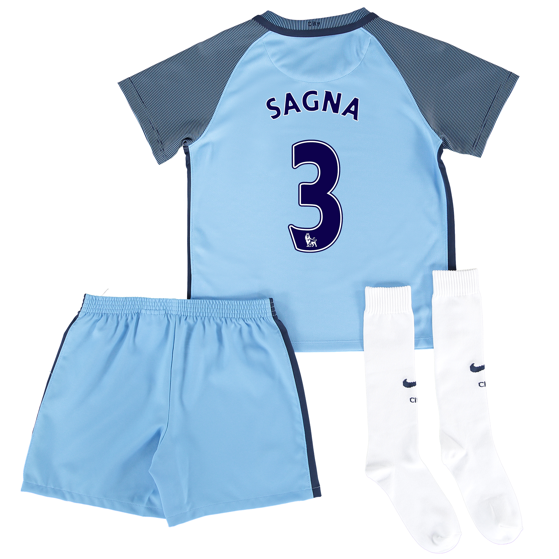 Manchester City Home Kit 2016-17 - Little Kids with Sagna 3 printing