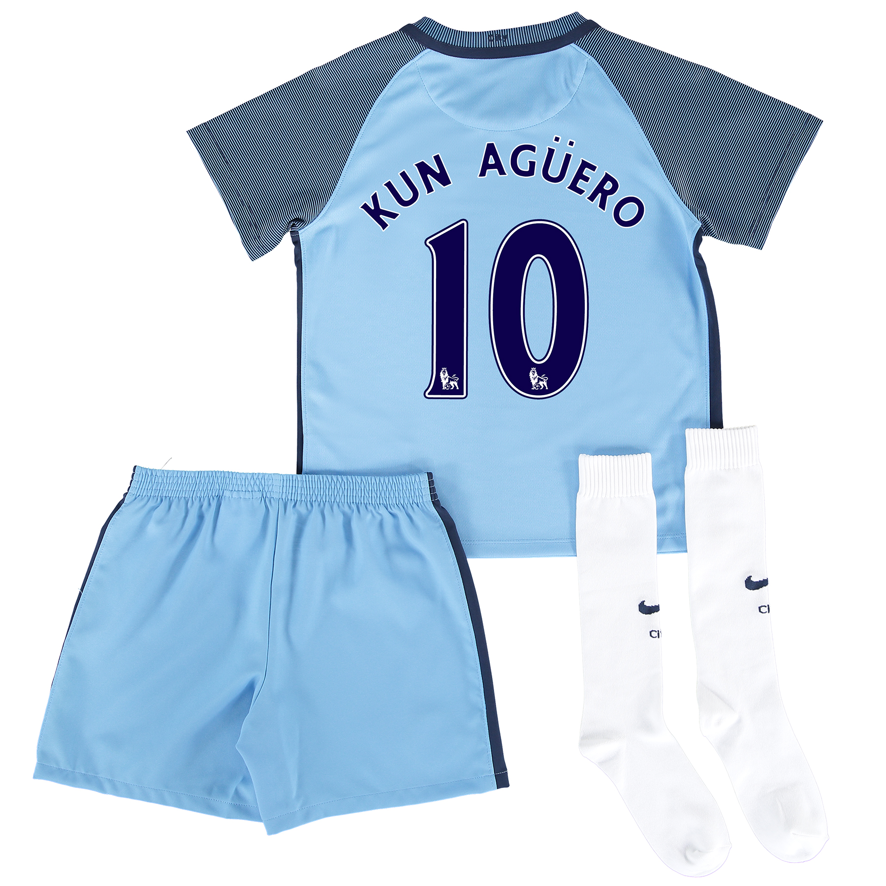 Manchester City Home Kit 2016-17 - Little Kids with Kun Ag??ero  10 pri
