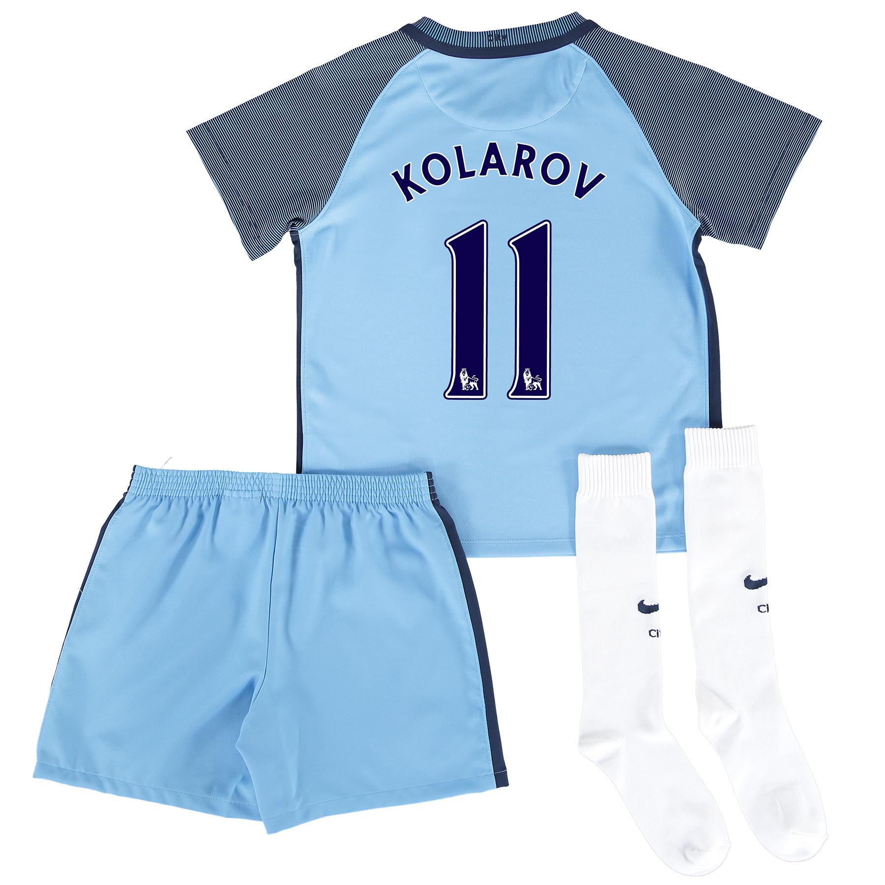 Manchester City Home Kit 2016-17 - Little Kids with Kolarov 11 printin