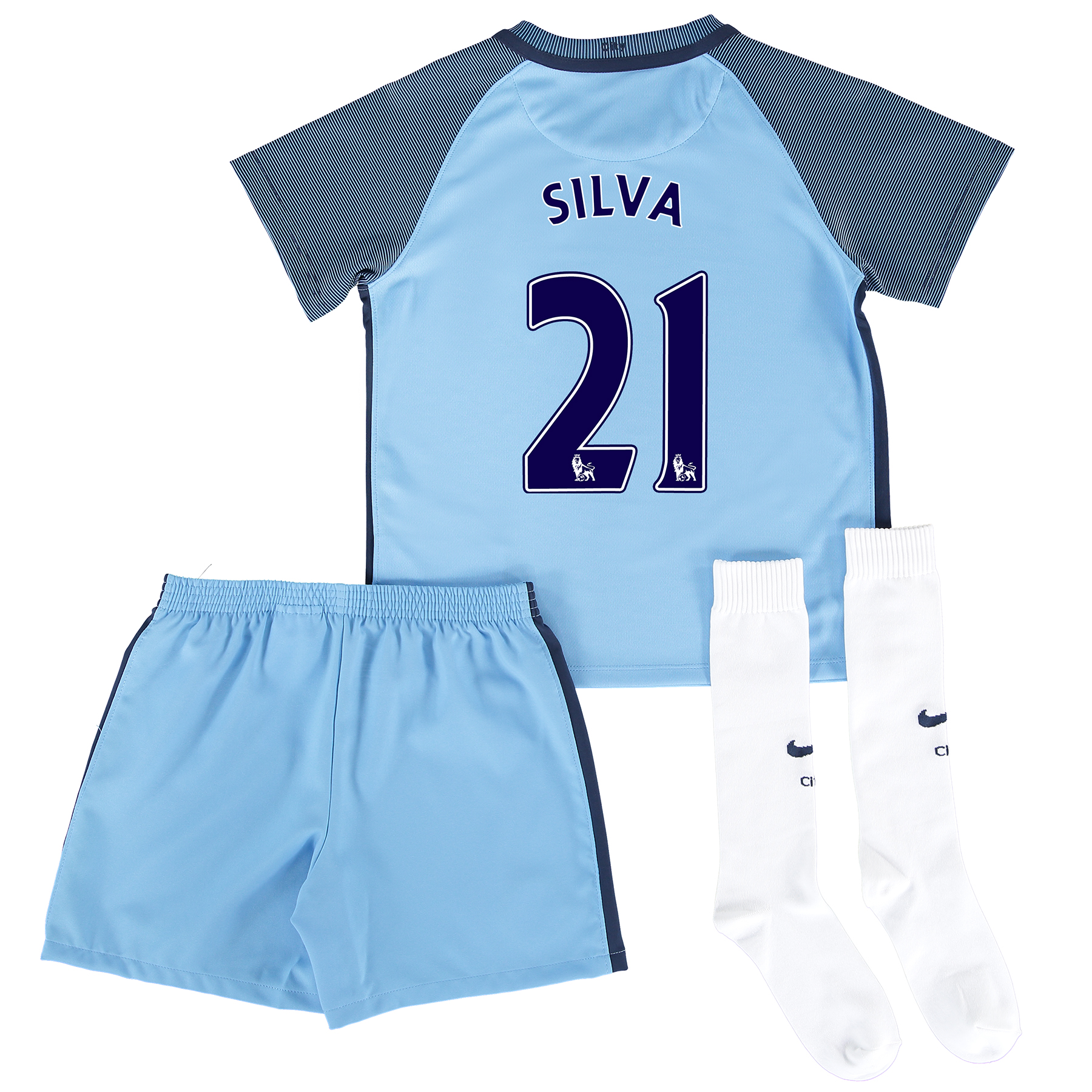 Manchester City Home Kit 2016-17 - Little Kids with Silva 21 printing
