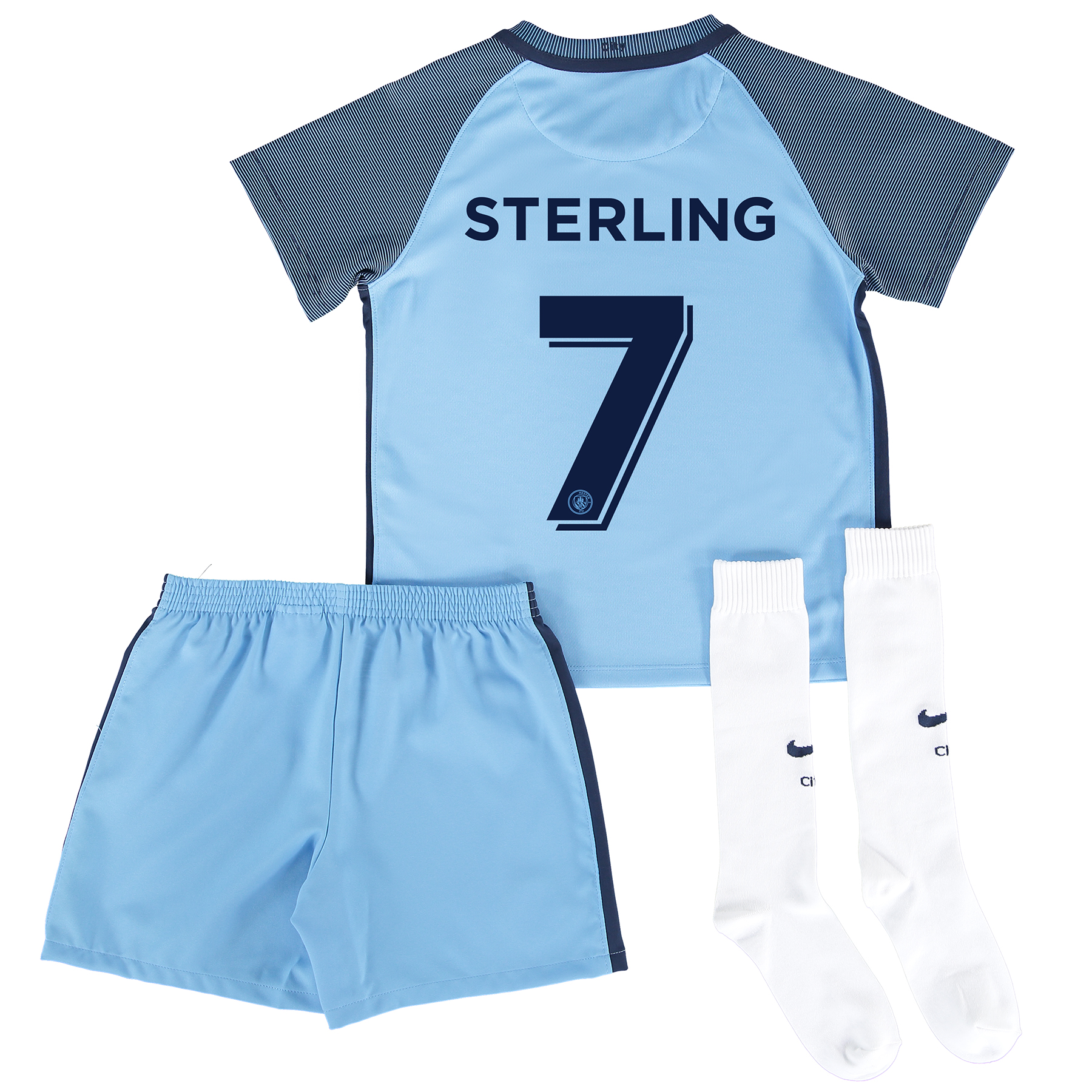 Manchester City Home Cup Kit 2016-17 - Little Kids with Sterling 7 pri