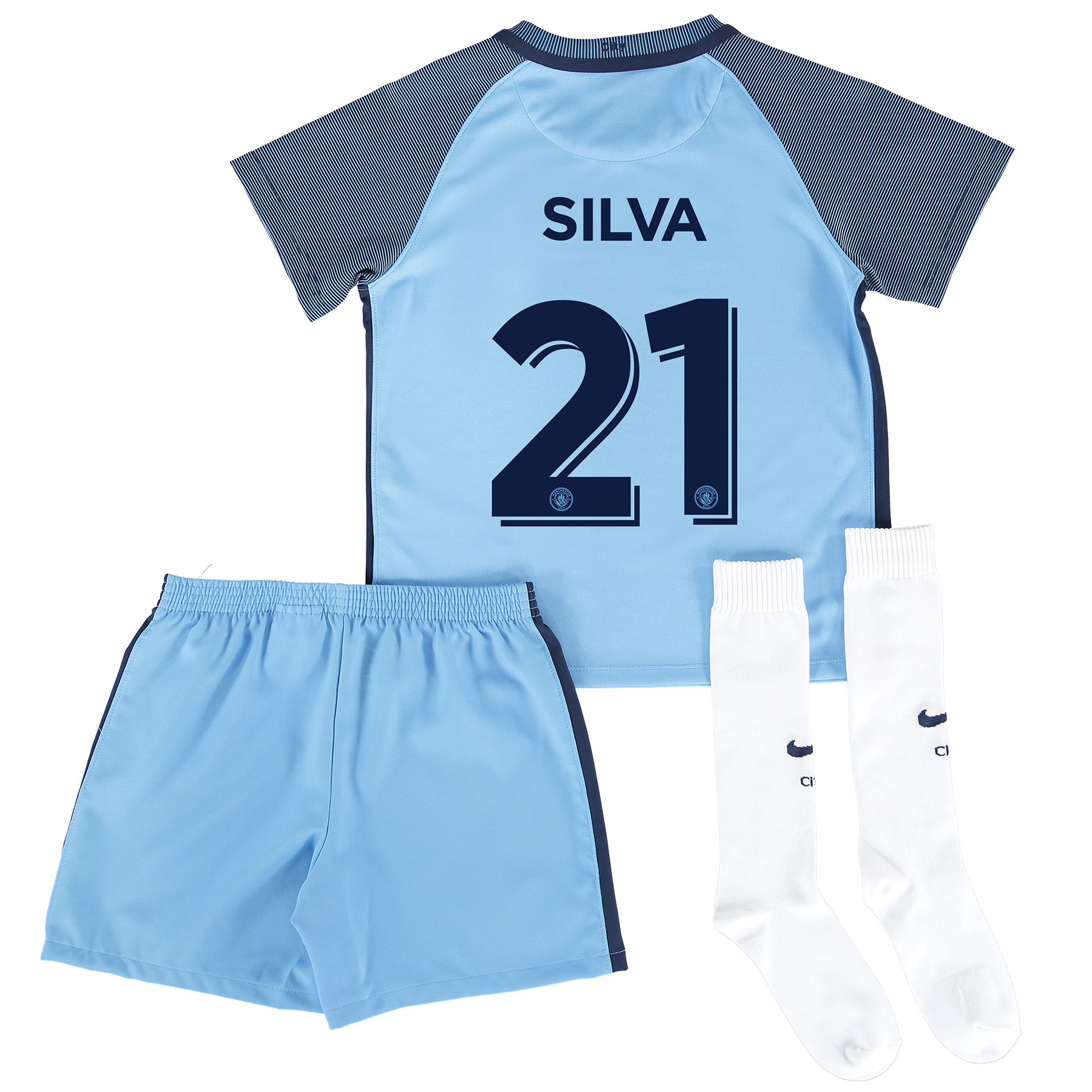 Manchester City Home Cup Kit 2016-17 - Little Kids with Silva 21 print