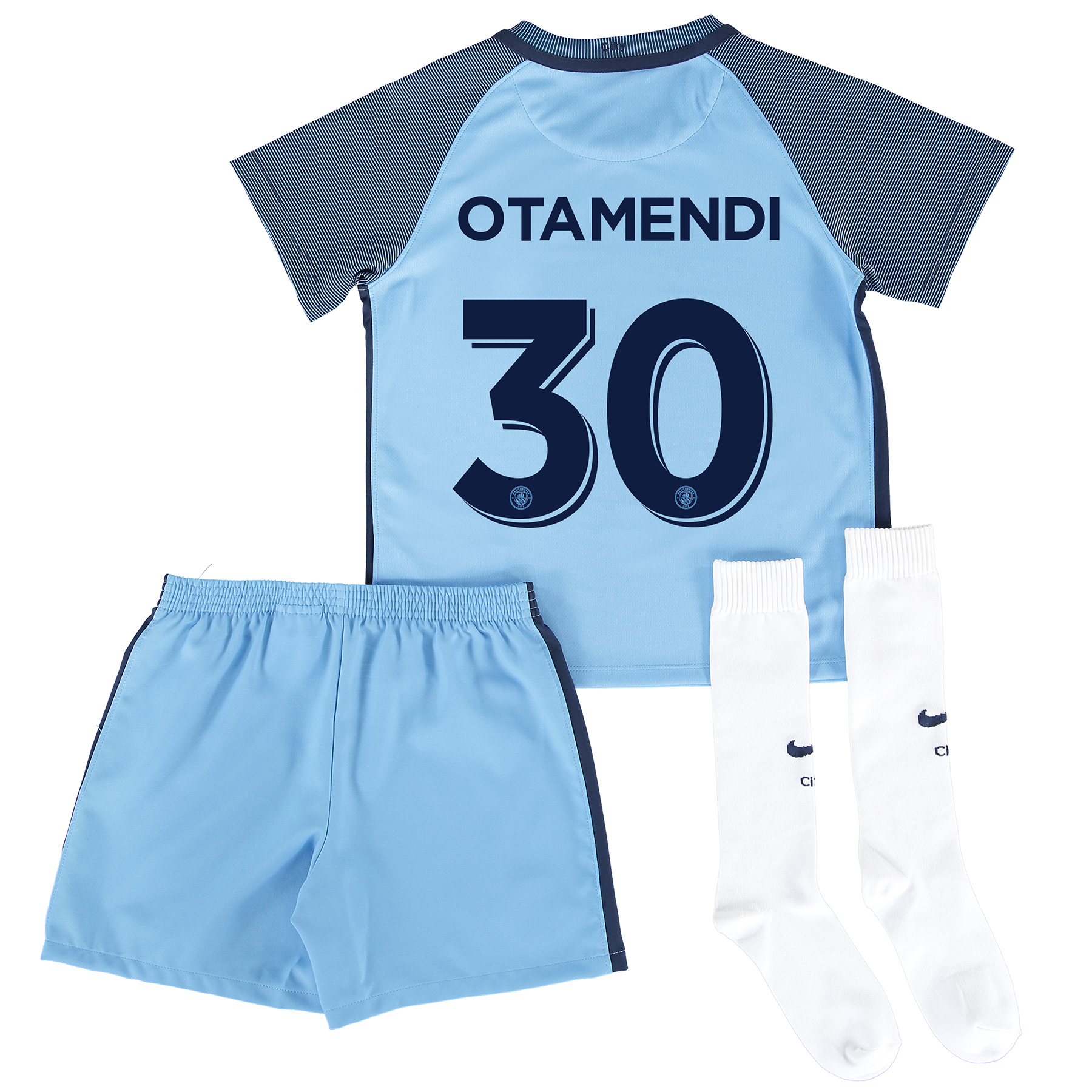 Manchester City Home Cup Kit 2016-17 - Little Kids with Otamendi 30 pr