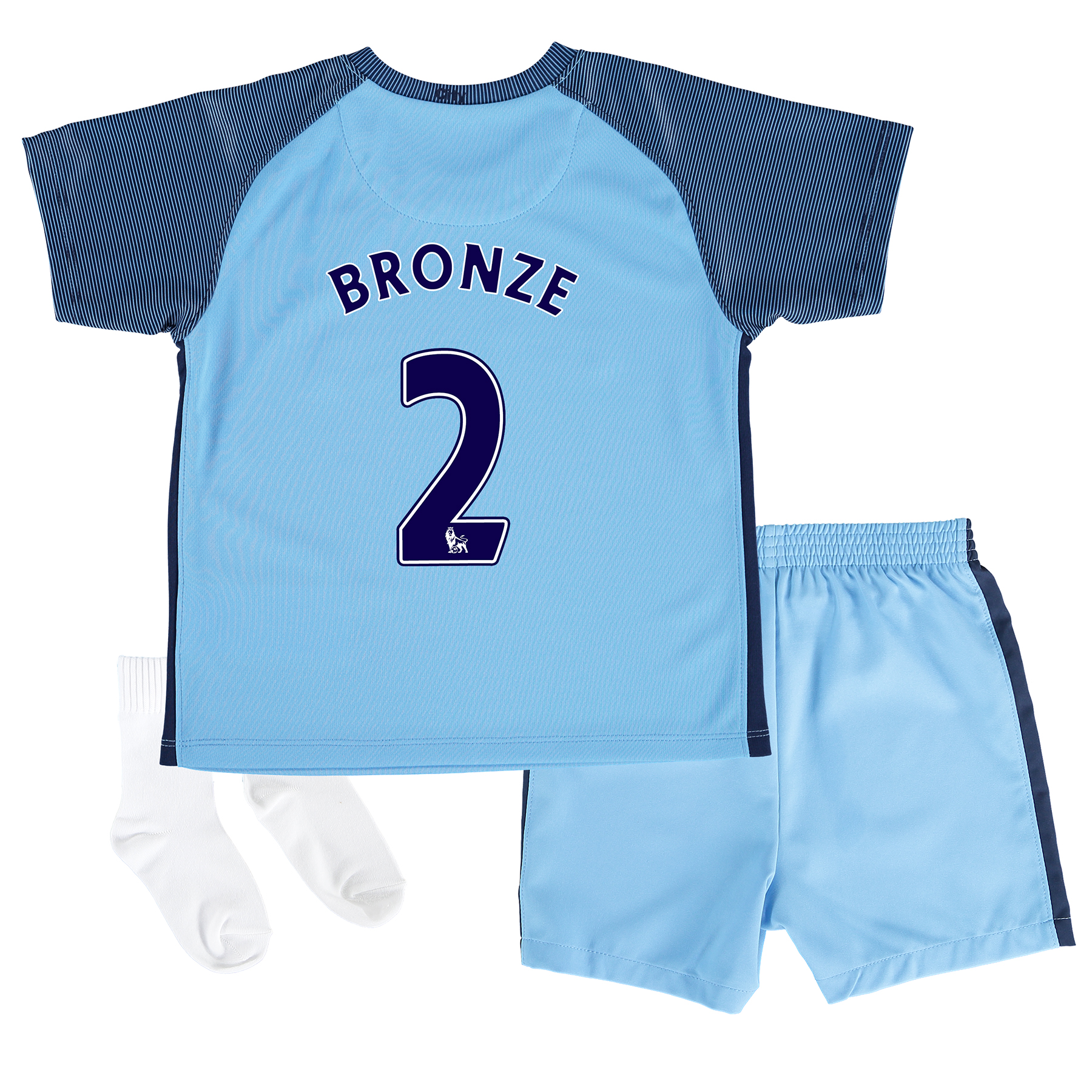 Manchester City Home Kit 2016-17 - Little Kids with Bronze 2 printing