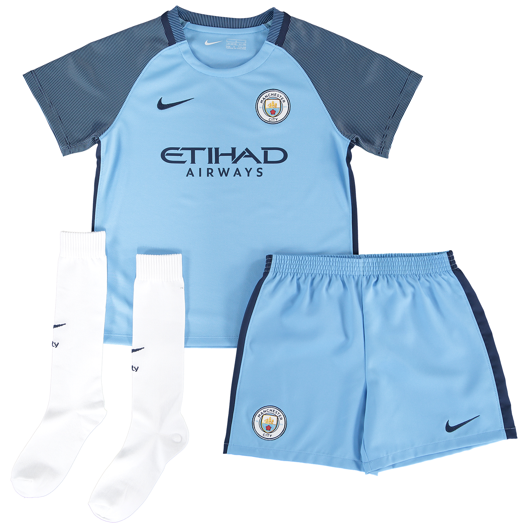 Manchester City Home Kit 2016-17 - Little Kids with Houghton 6 printin