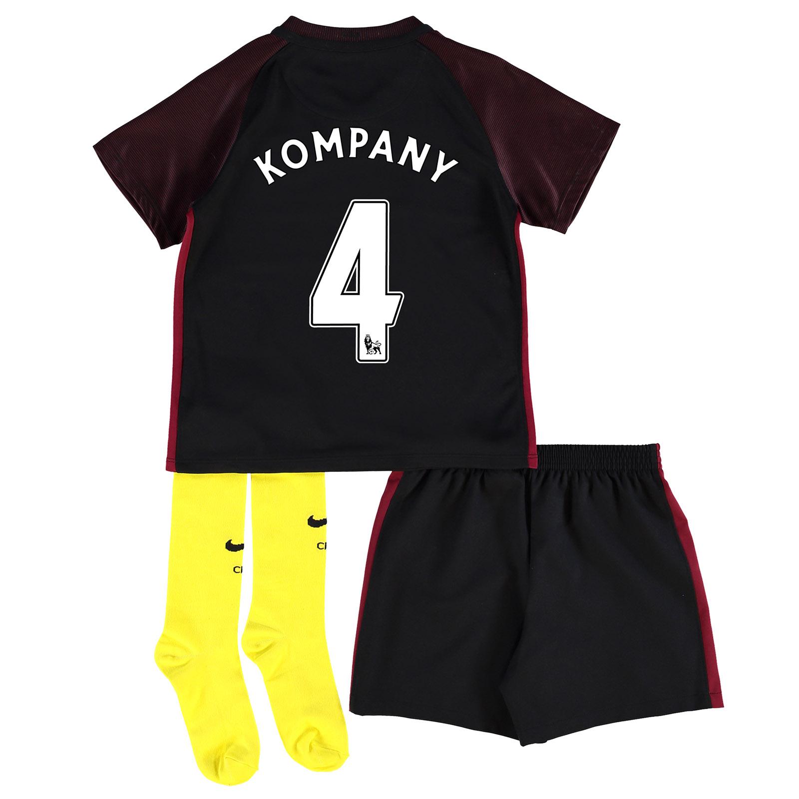 Manchester City Away Stadium Kit 2016-17 - Little Kids with Kompany 4