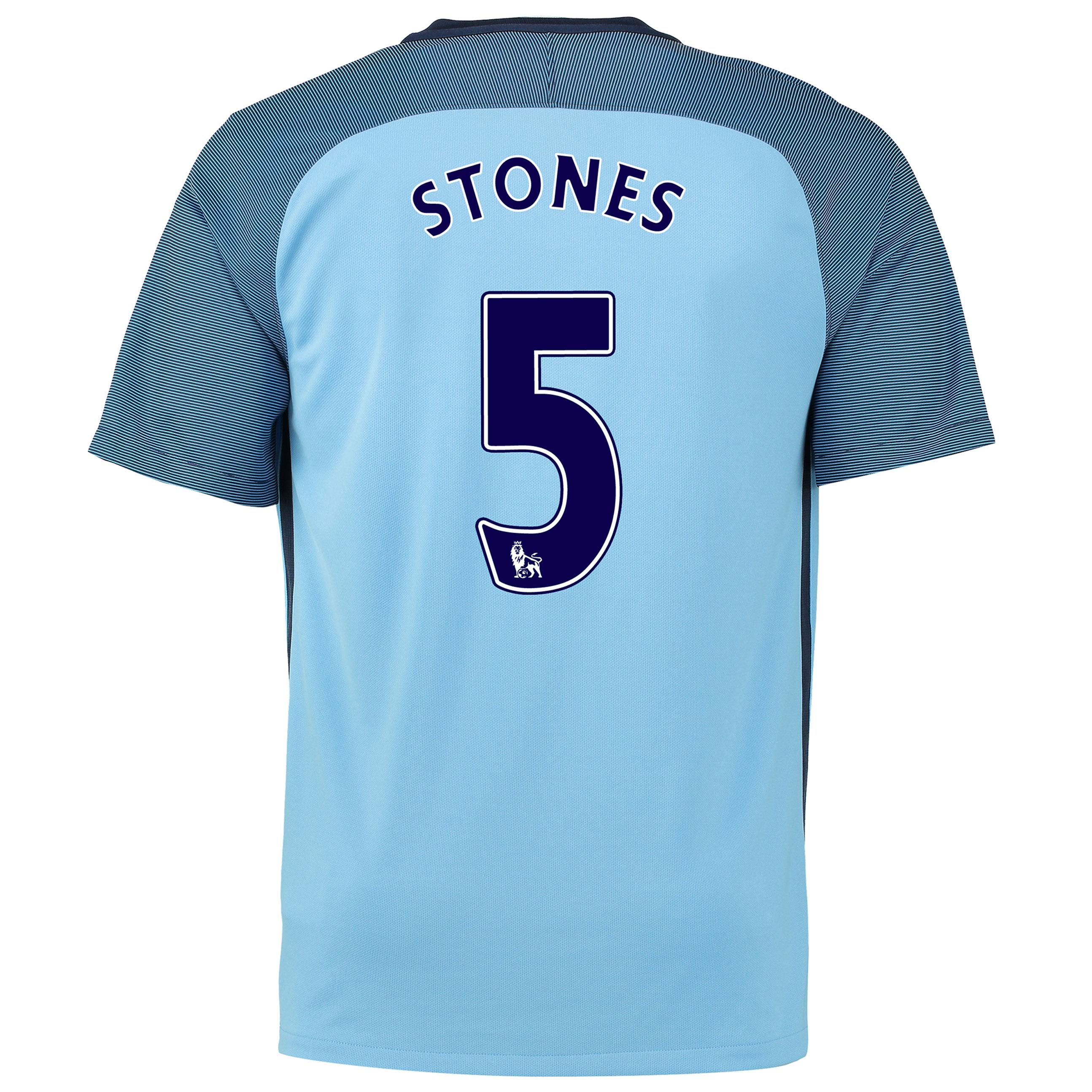 Manchester City Home Stadium Shirt 2016-17 with Stones 24 printing