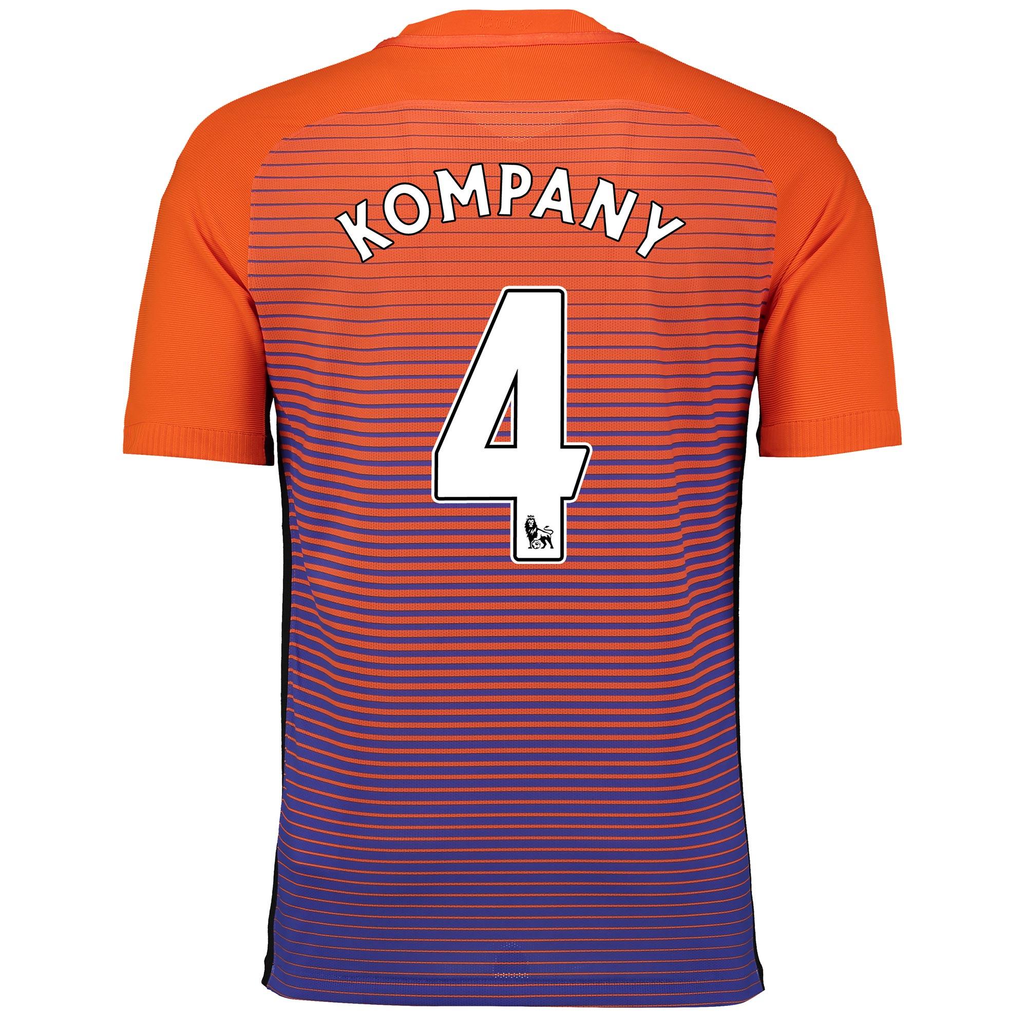 Manchester City Third Vapor Match Shirt 2016-17 with Kompany 4 printin