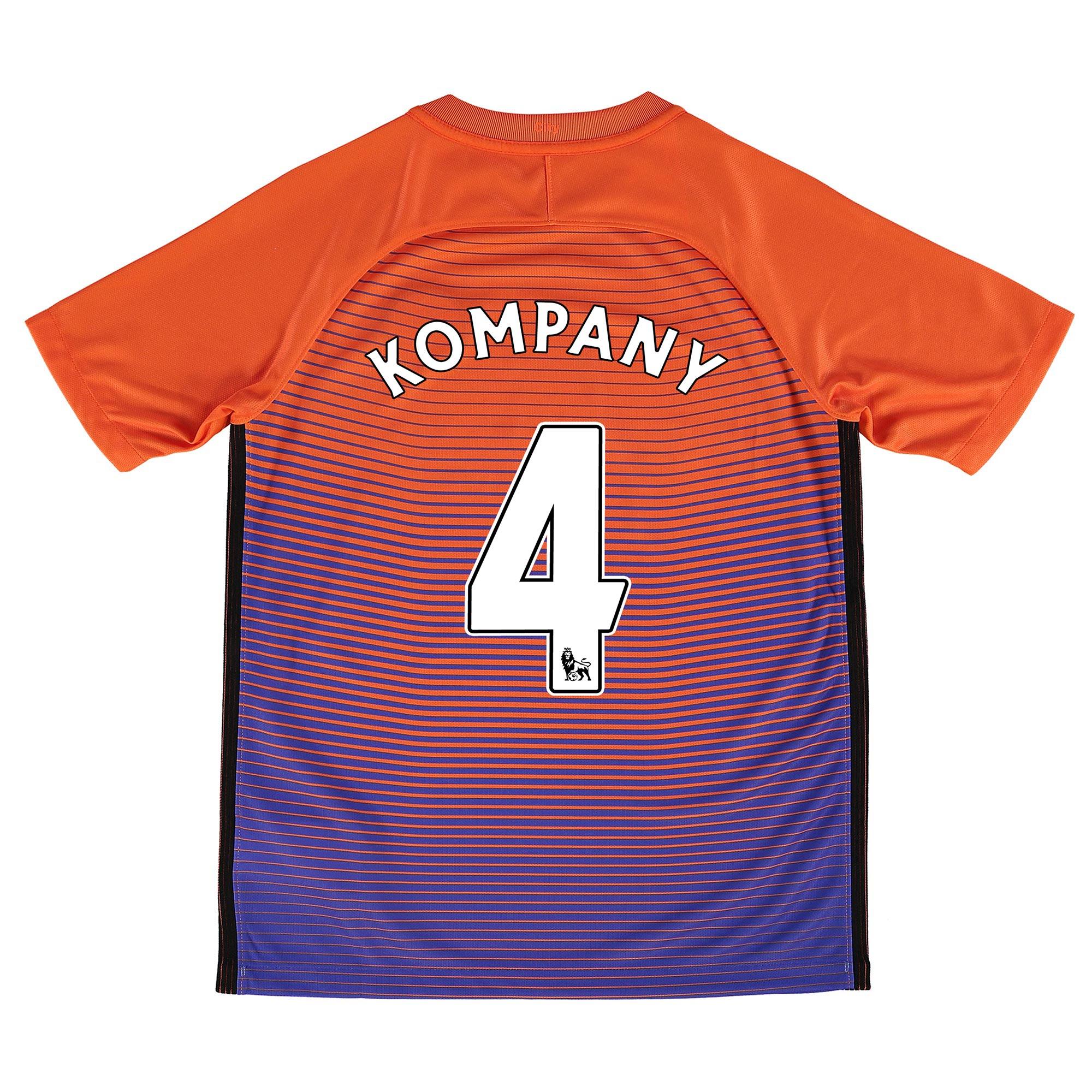 Manchester City Third Stadium Shirt 2016-17 - Kids with Kompany 4 prin